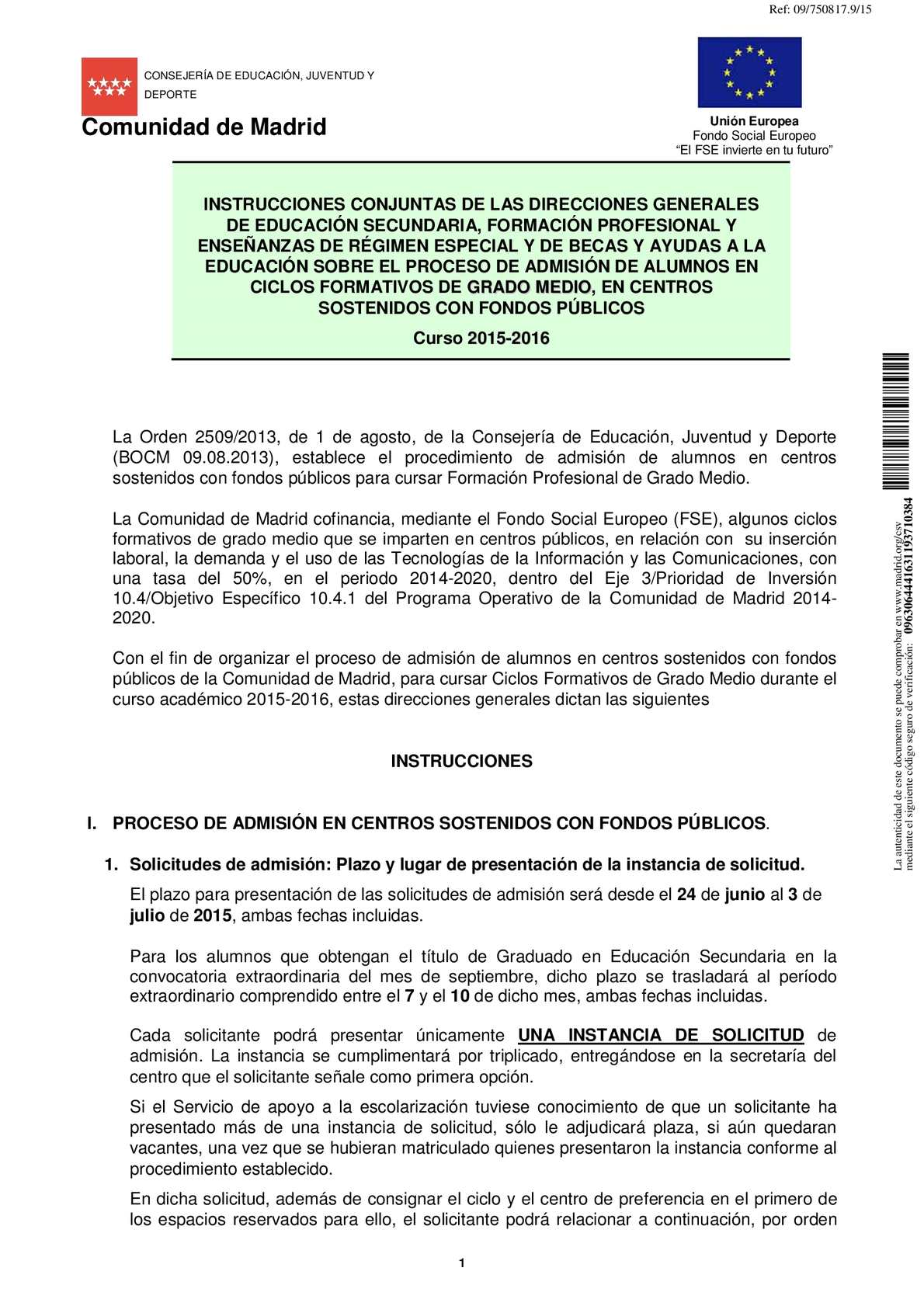 Calaméo 2015 06 15 Instrucciones Admisión Cfgm 2015 2016