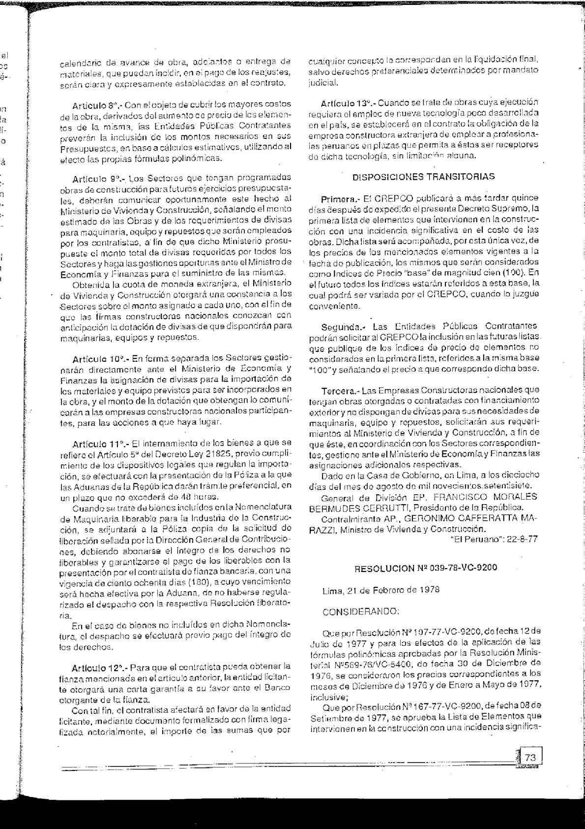Calendario 1978.Formulas Polinomicas De Reajuste Automatico En Obras De