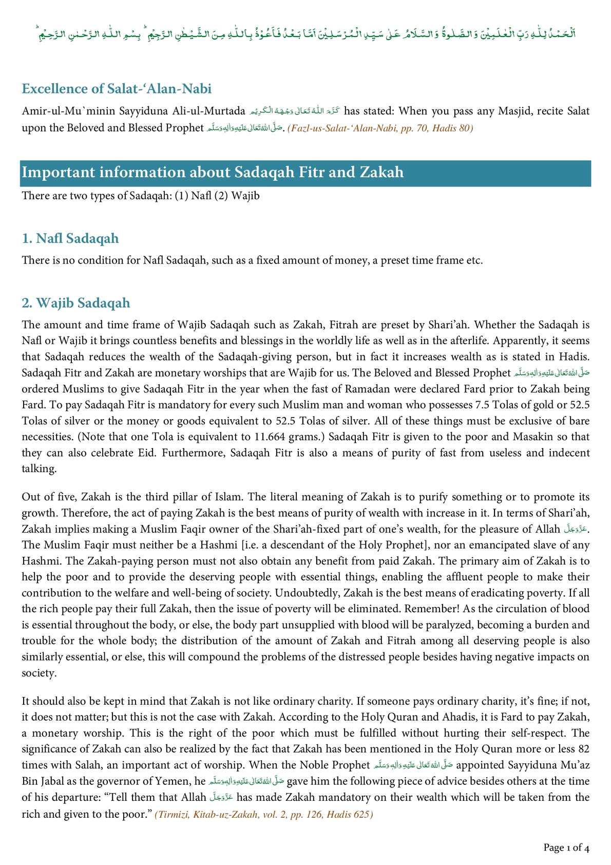 Calaméo - Important information about Sadaqah Fitr and Zakah