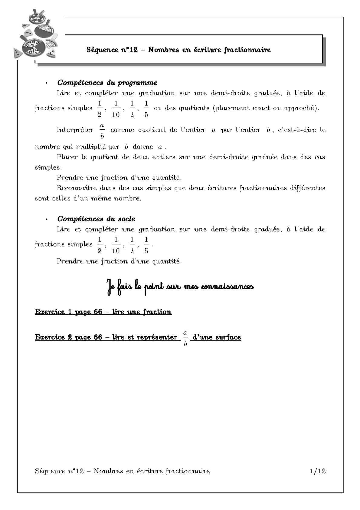 Calaméo - Sequence 12 Fractions Exercices