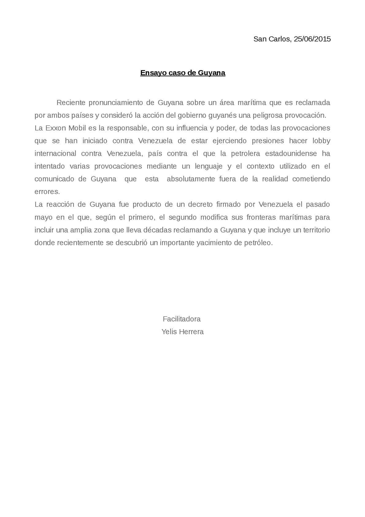 Ensayo de Guayana