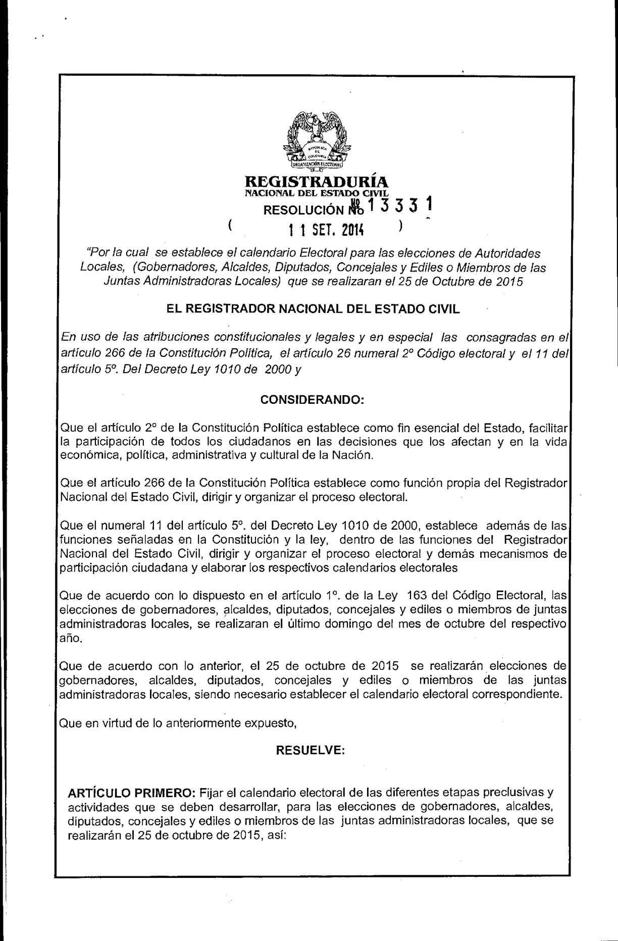 Calendario Del 2000.Calameo Calendario Electoral 2015 Registraduria Nacional