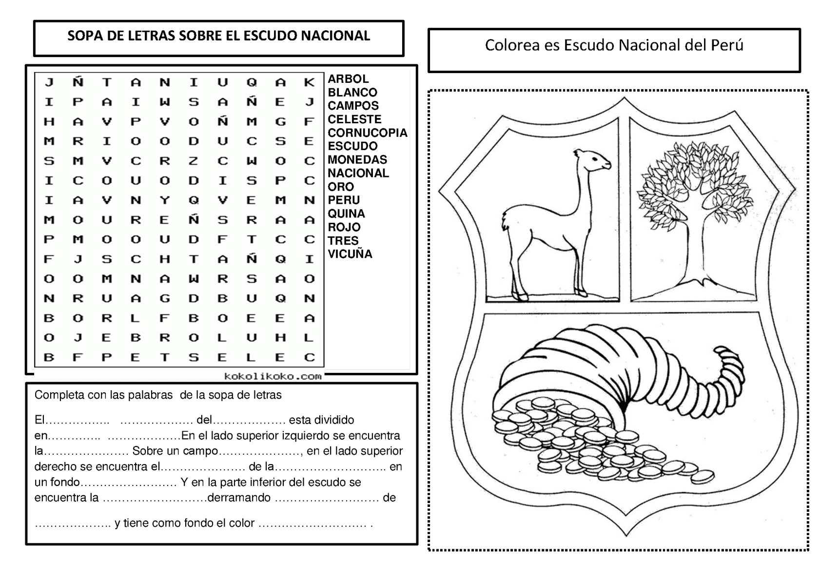 Los Simbolos Patrios Peru Para Colorear