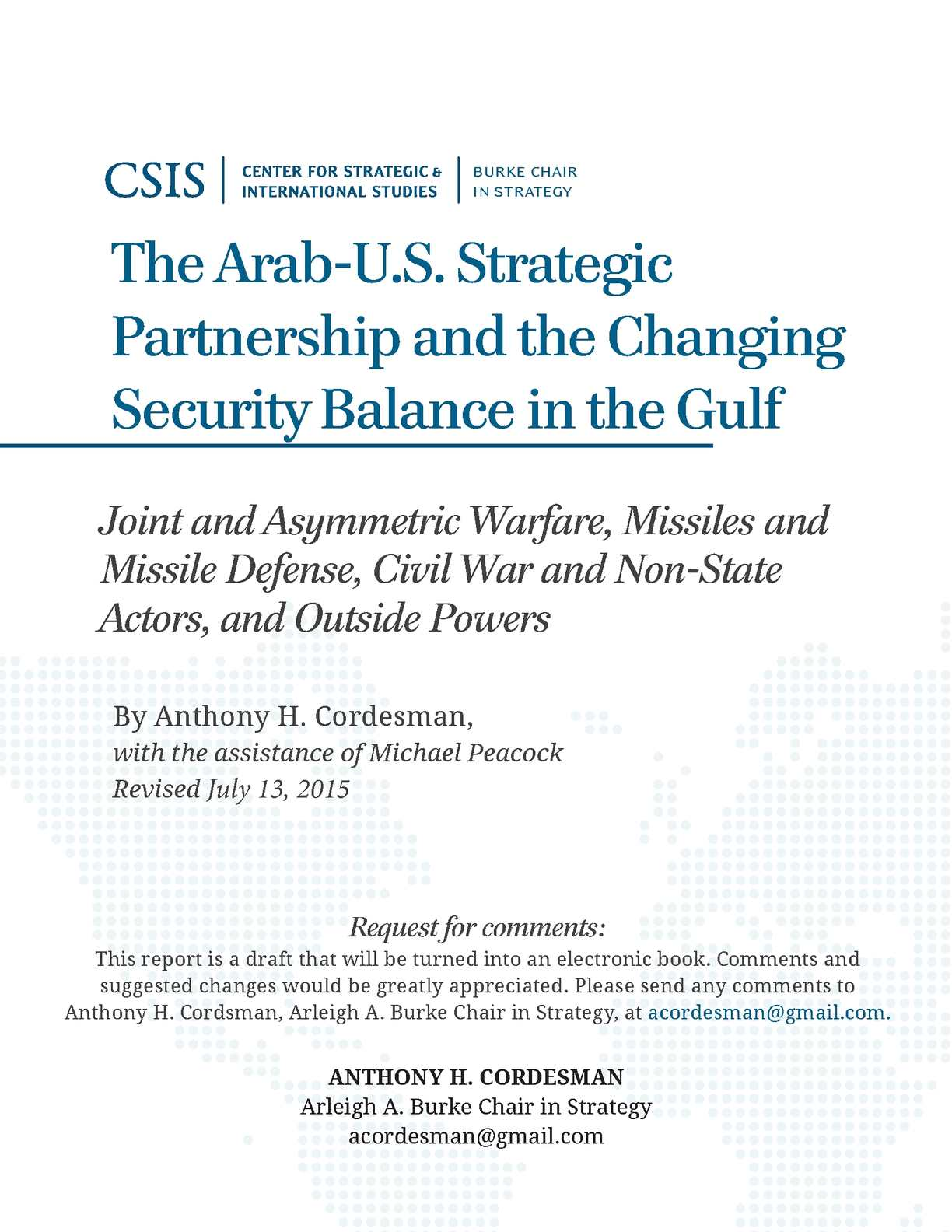 new concept cf7ed 58ba7 The Arab-U.S. Strategic Partnership and the Changing Security Balance in  the Gulf