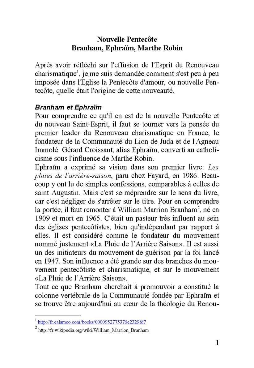 Nouvelle Pentecôte Branham Ephraim Marthe Robin