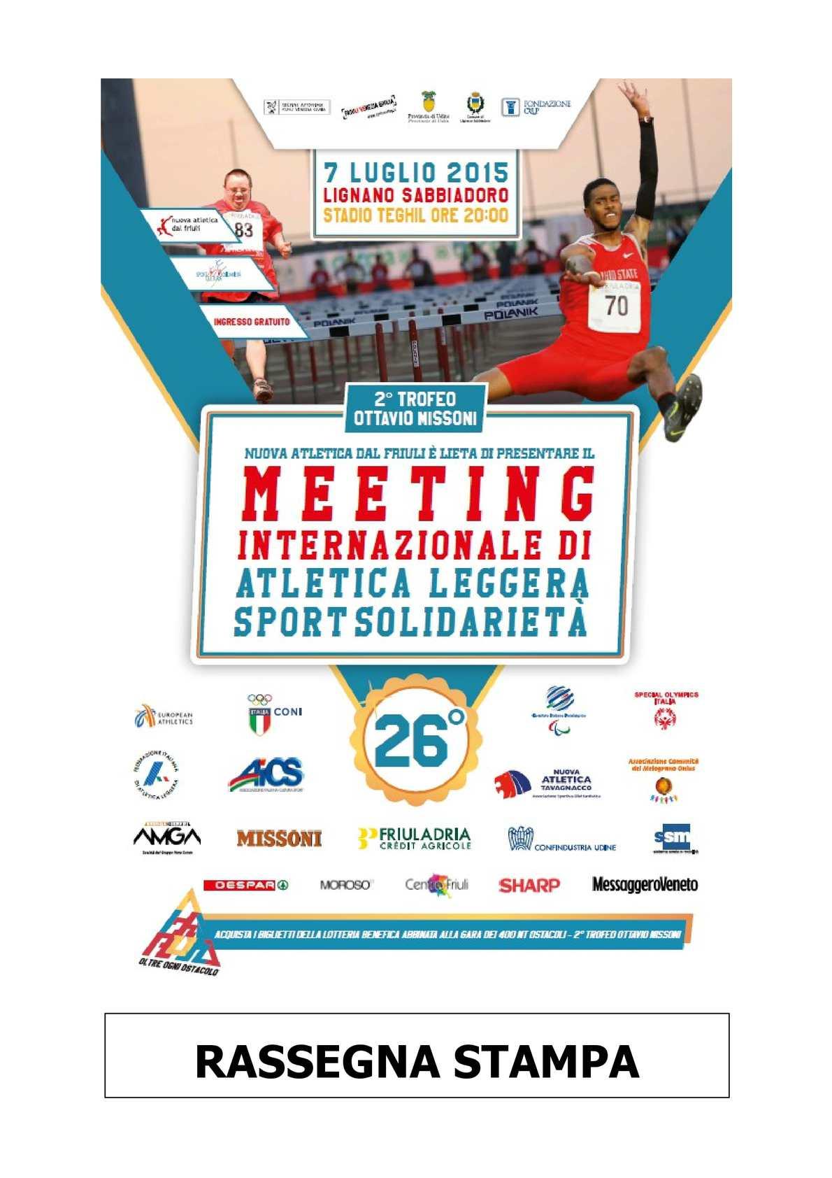 new product 75178 3ad3b Calaméo - 2015 - Rassegna Stampa - 26° Meeting Sport Solidarietà 2° Trofeo  Ottavio Missoni - Rassegna Stampa