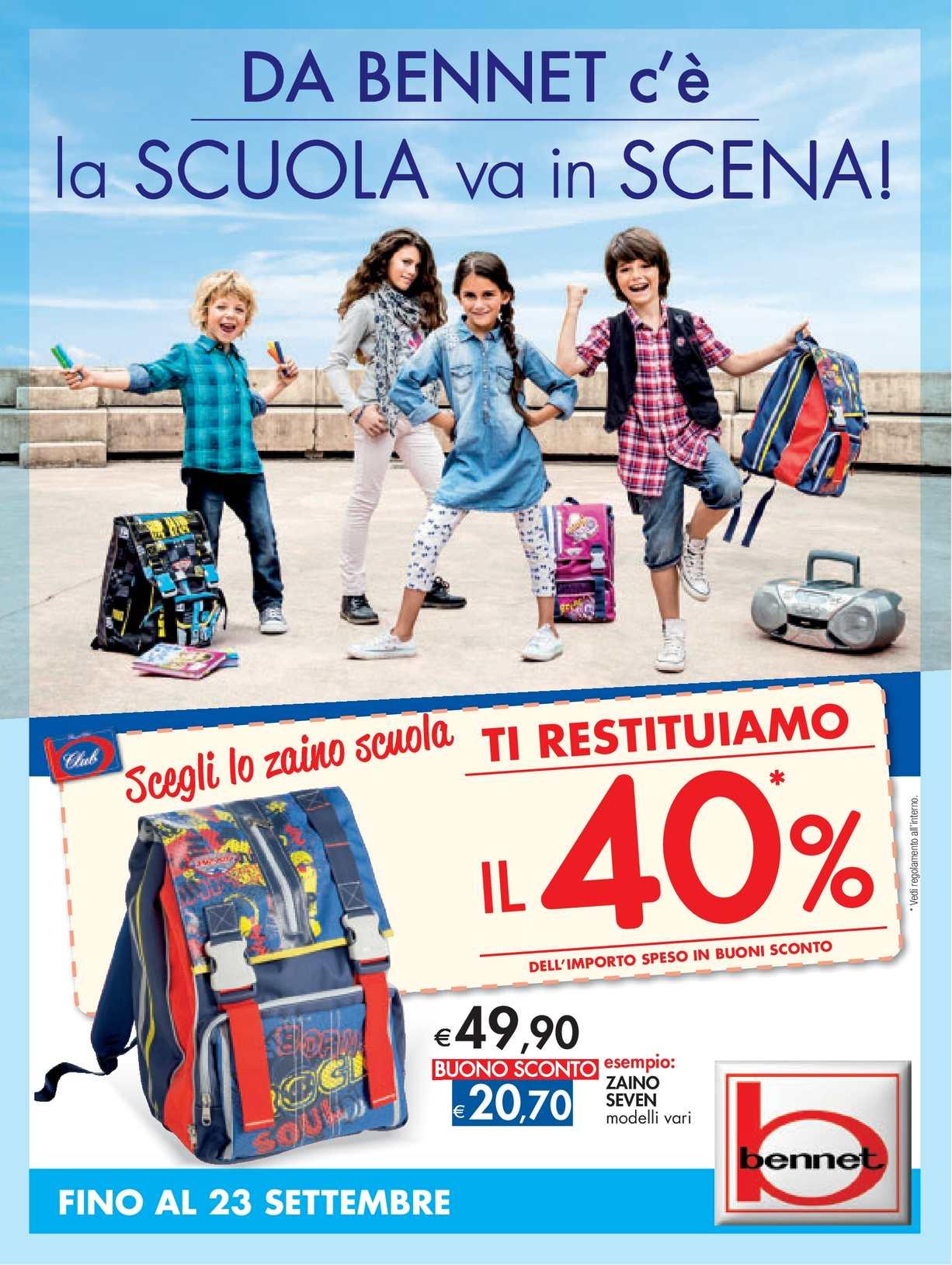 new concept 36061 f5302 Calaméo - Volantino Bennet Scuola fino al 23 settembre