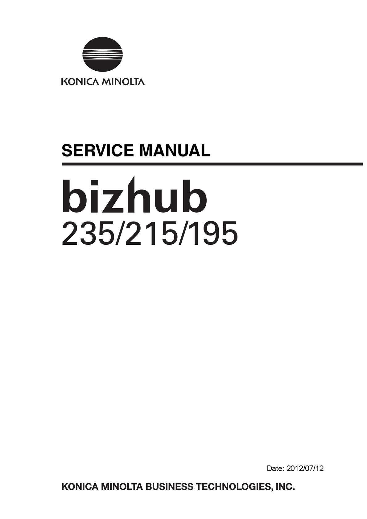 Calaméo - Sm Bizhub235 215 195 Service Manual E Ver 1 2