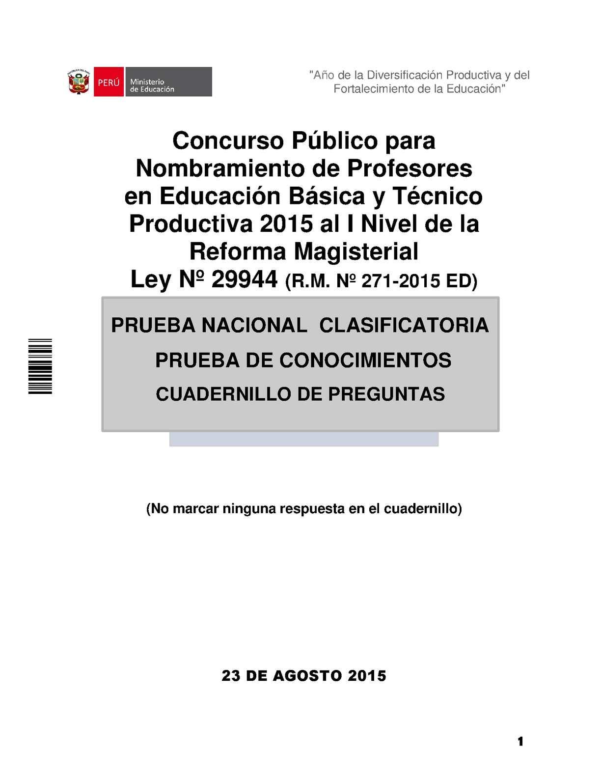 Calameo Examen 23 De Agosto Contrato Y Nombramiento Docente 2015