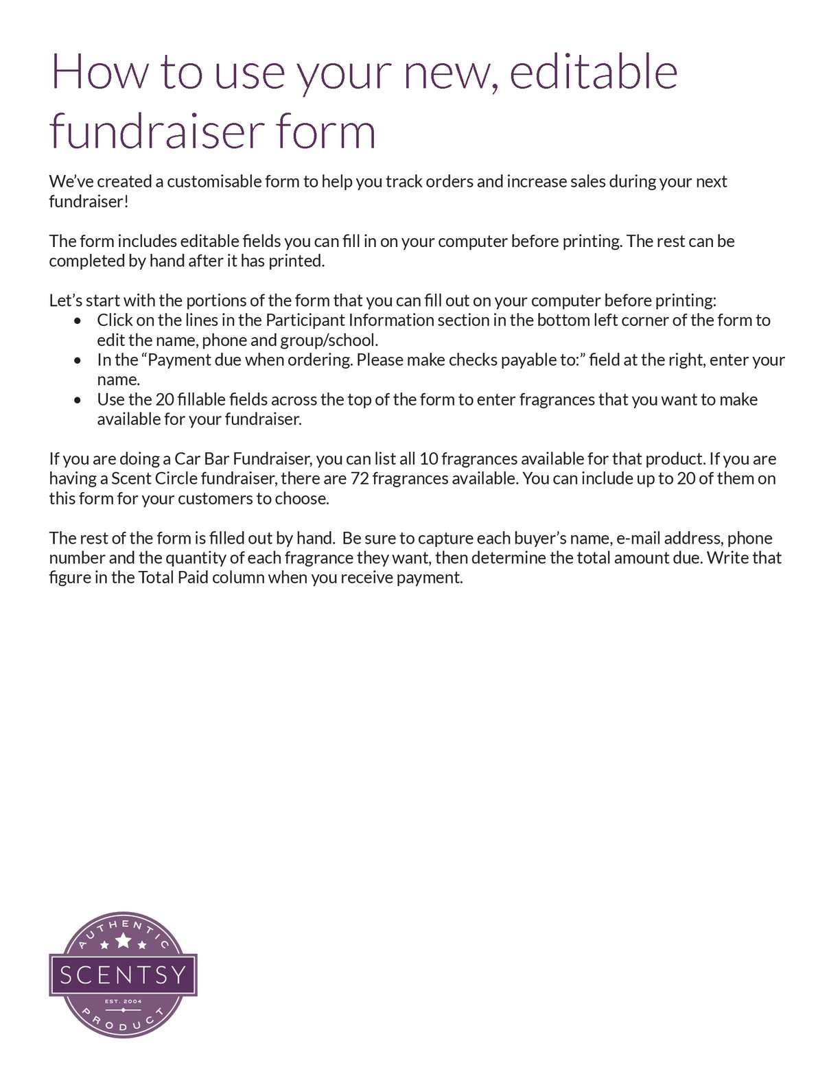Calameo Fundraising Spreadsheet Instructions