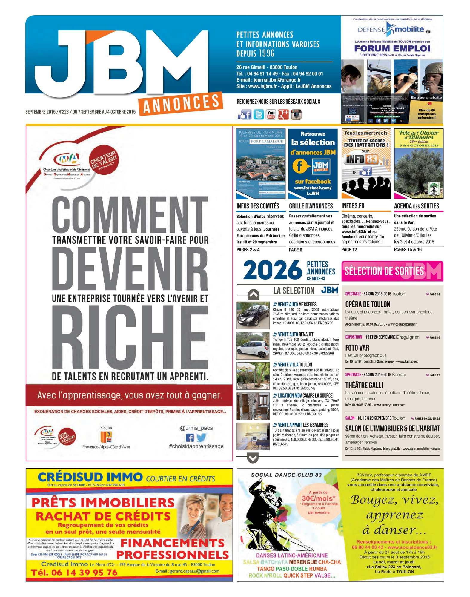 66a881d712f57c Calaméo - Journal JBM Annonces n°223 Septembre 2015