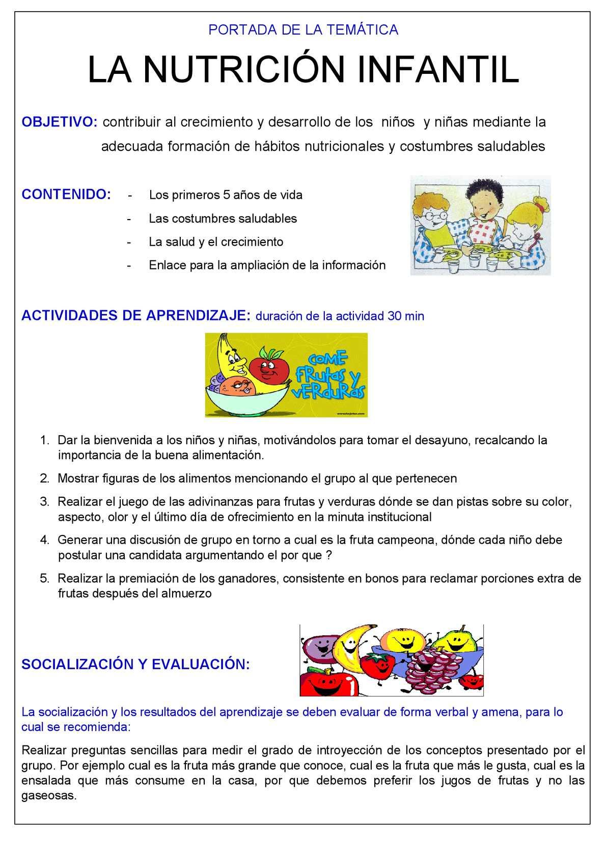 importancia de la buena nutricion en los niños