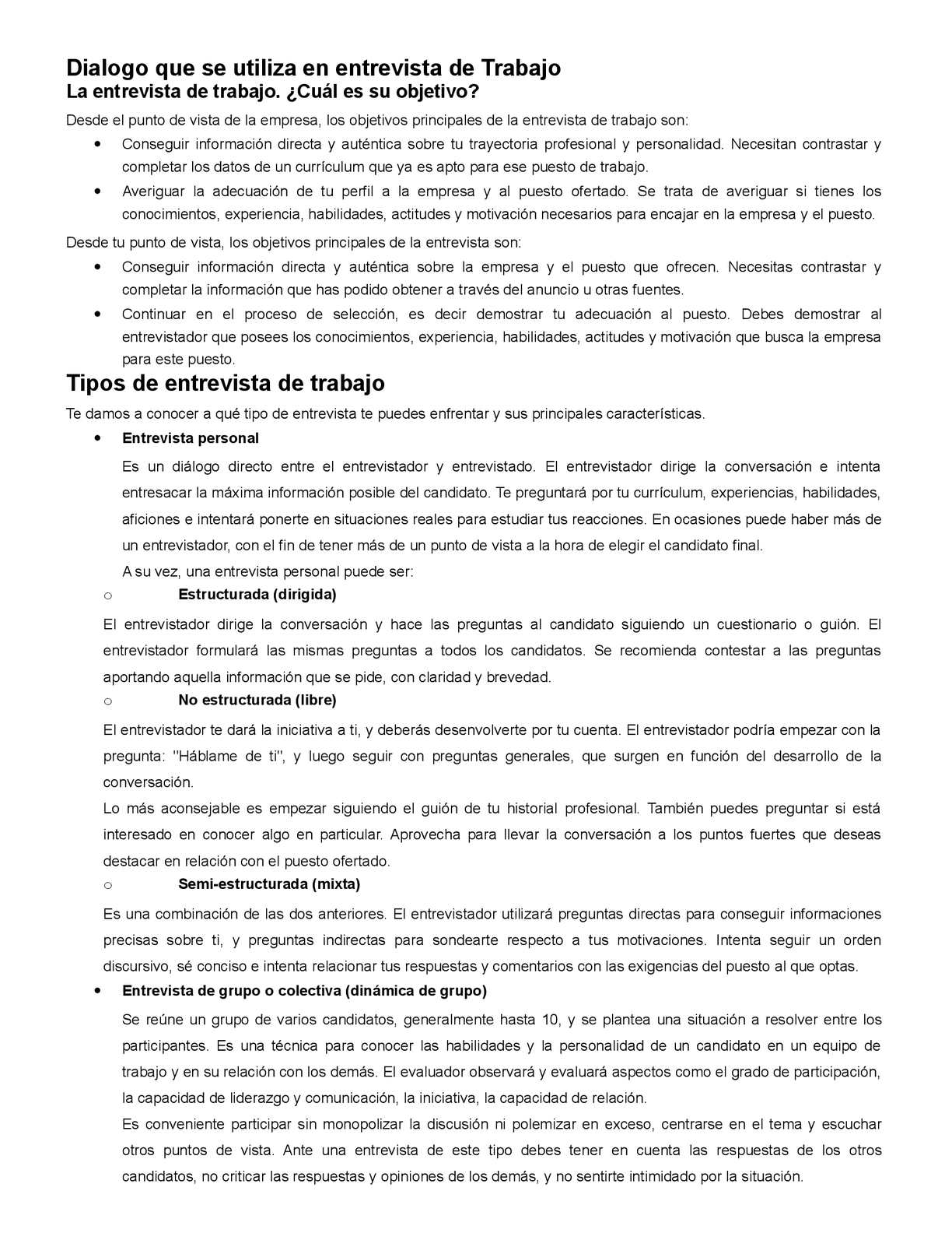 Calameo Dialogo Que Se Utiliza En Entrevista De Trabajo