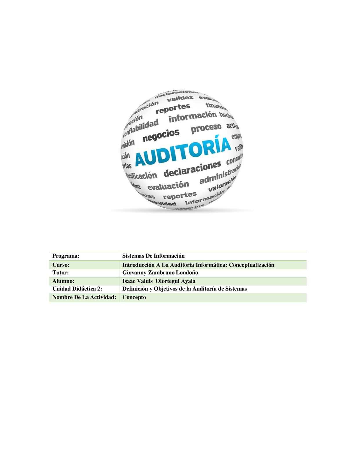 Definición y Objetivos de la Auditoría de Sistemas