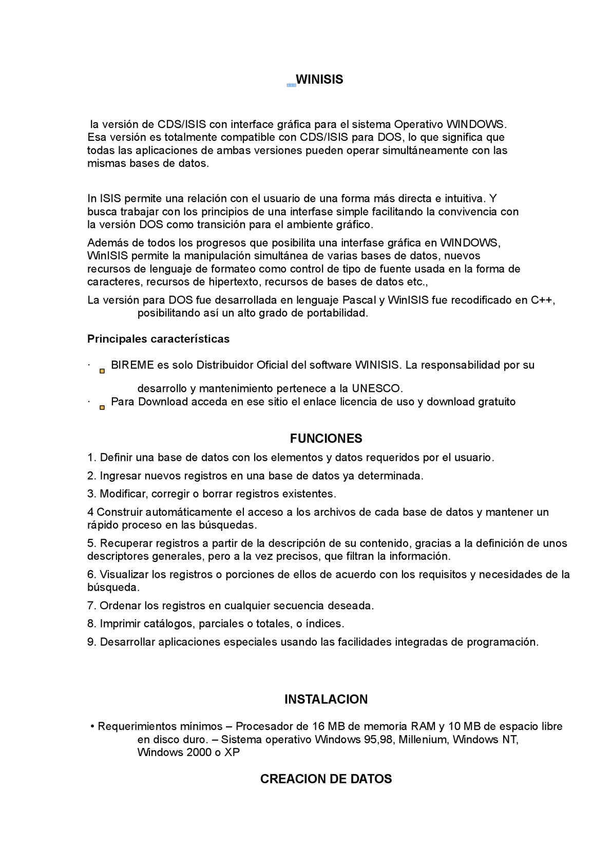 GRATUIT UNESCO TÉLÉCHARGER WINISIS