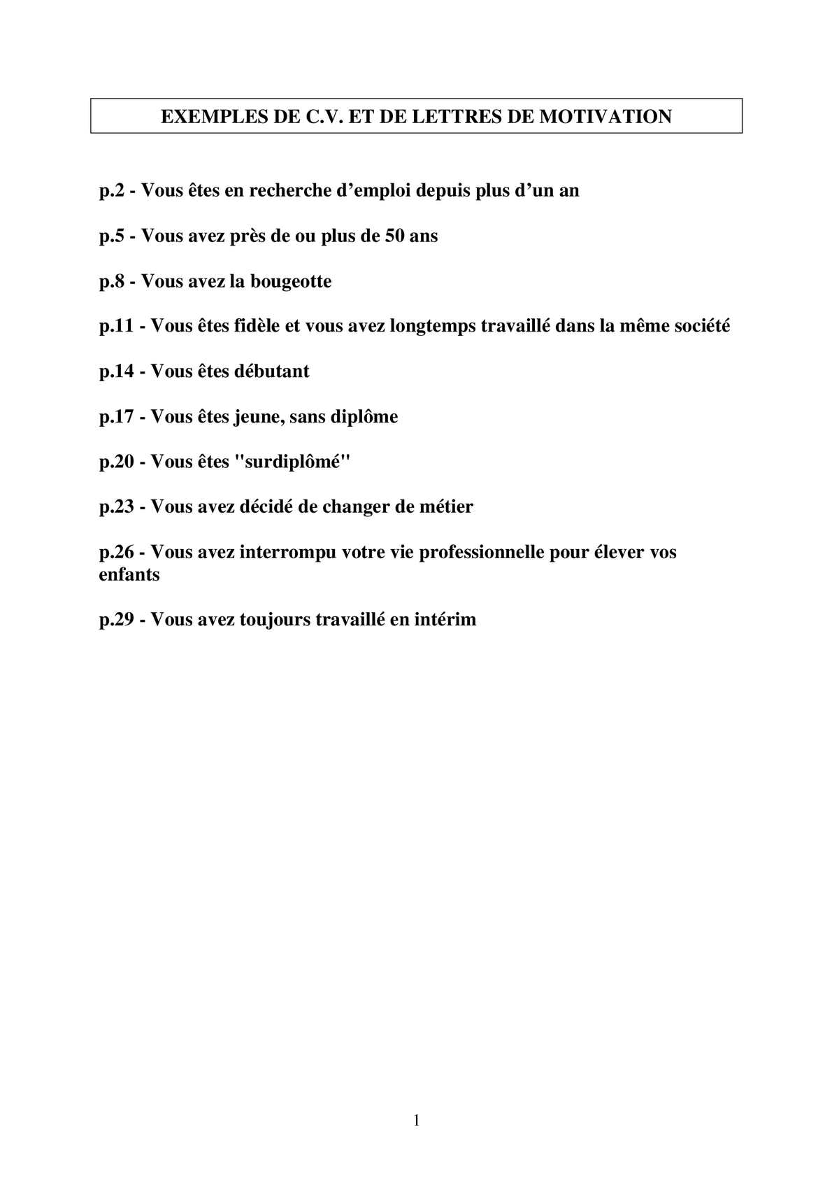 Calaméo Exemples De Cv Et De Lettres De Motivation