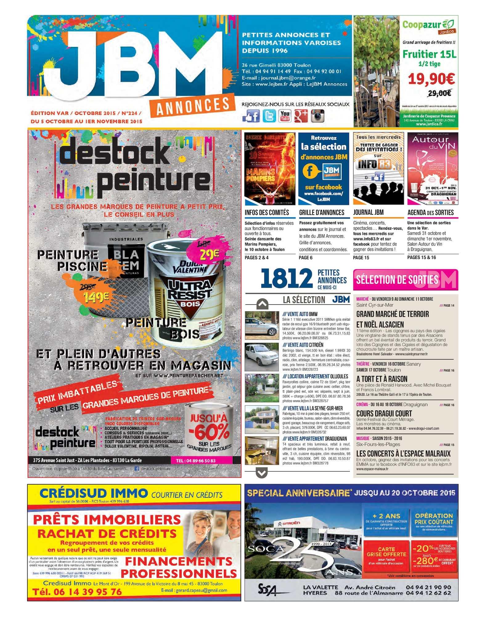 3879347aac318a Calaméo - Journal JBM Annonces n°224 Octobre 2015