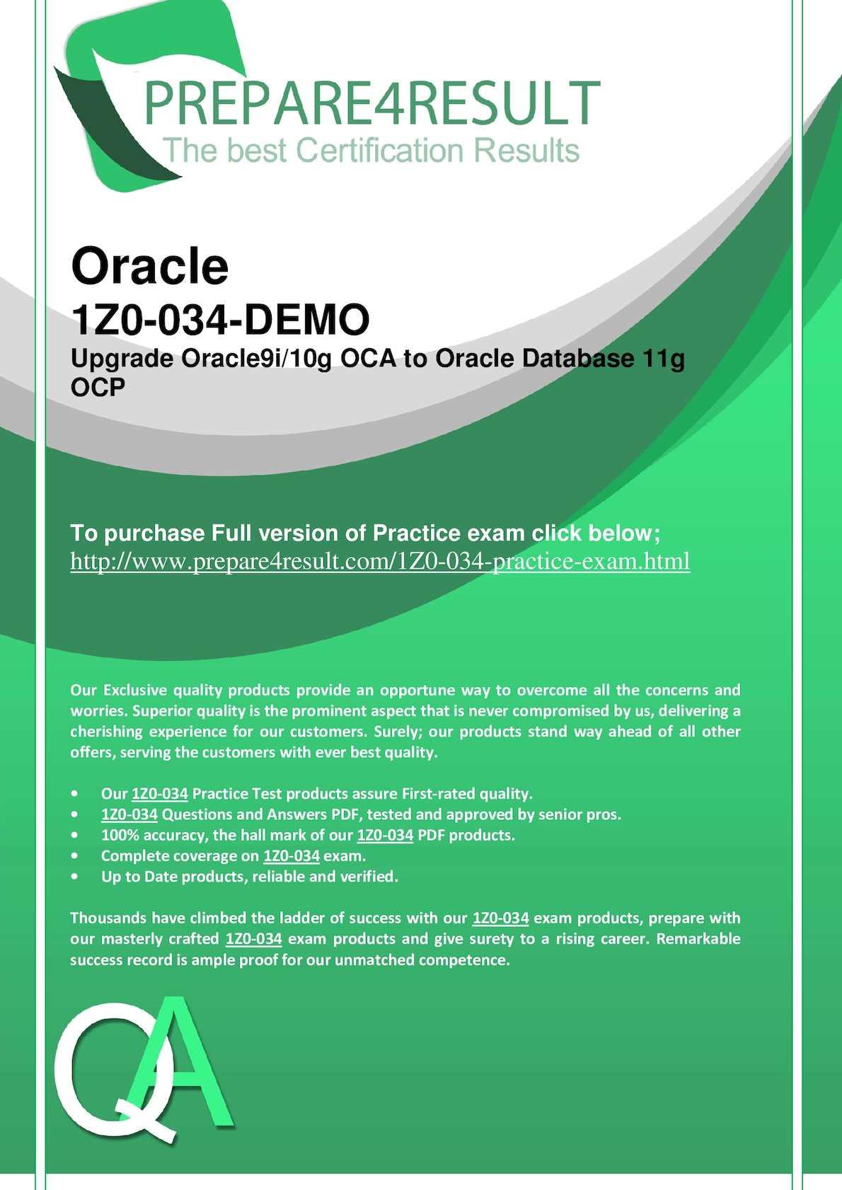 Calaméo - Pass Z0-034 Oracle Database 11g Test