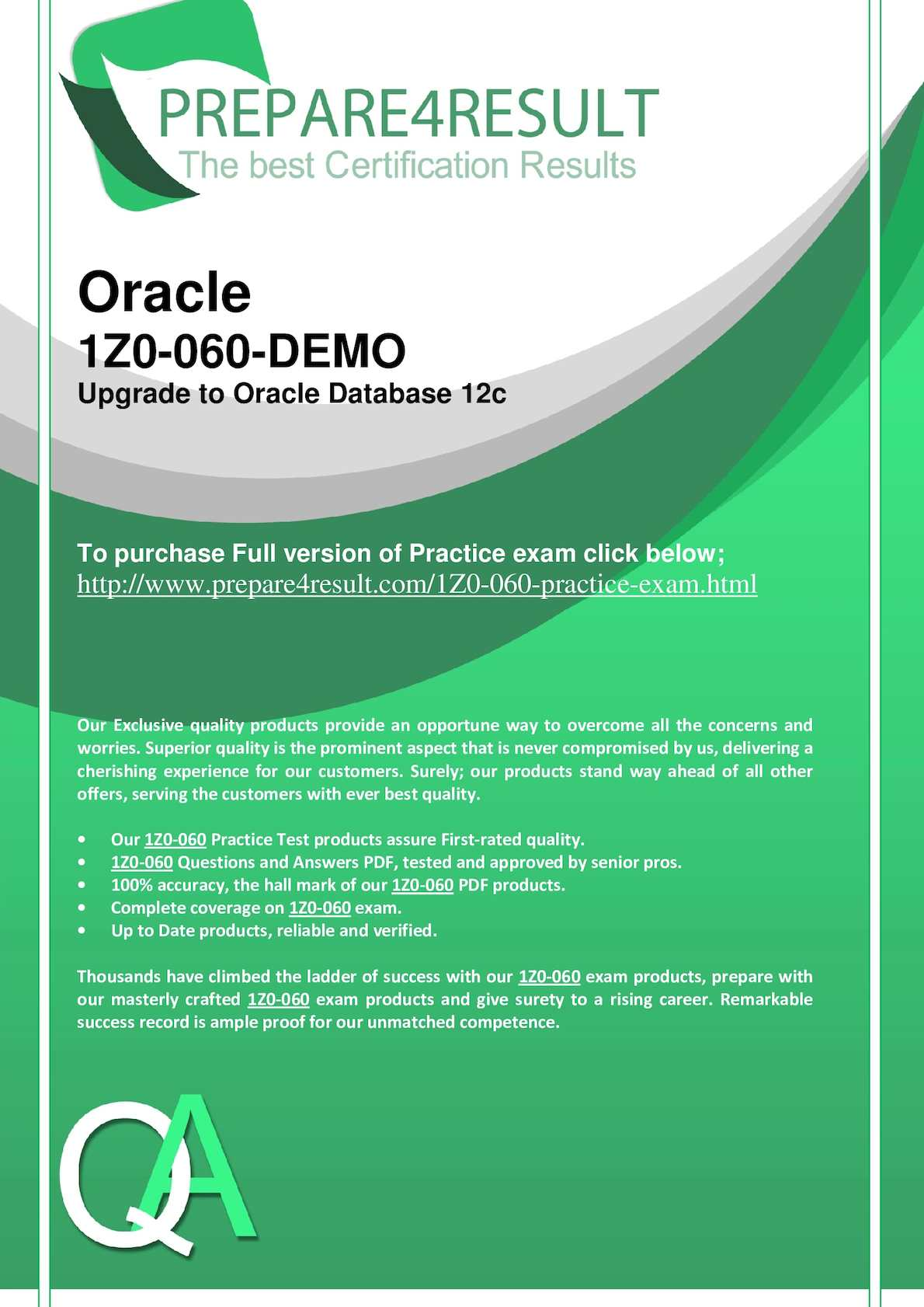 Calaméo - Oracle 1Z0-060 - Upgrade to Oracle Database 12c