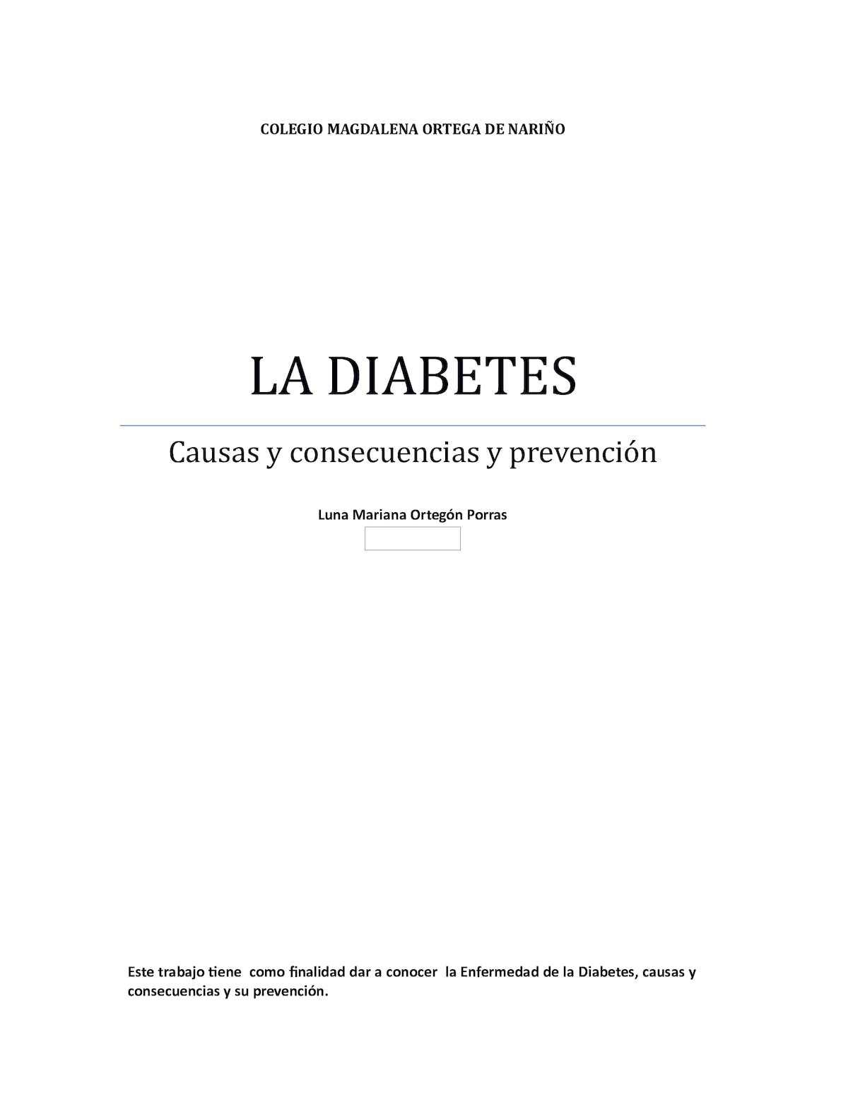 la diabetes causas consecuencias y prevención y
