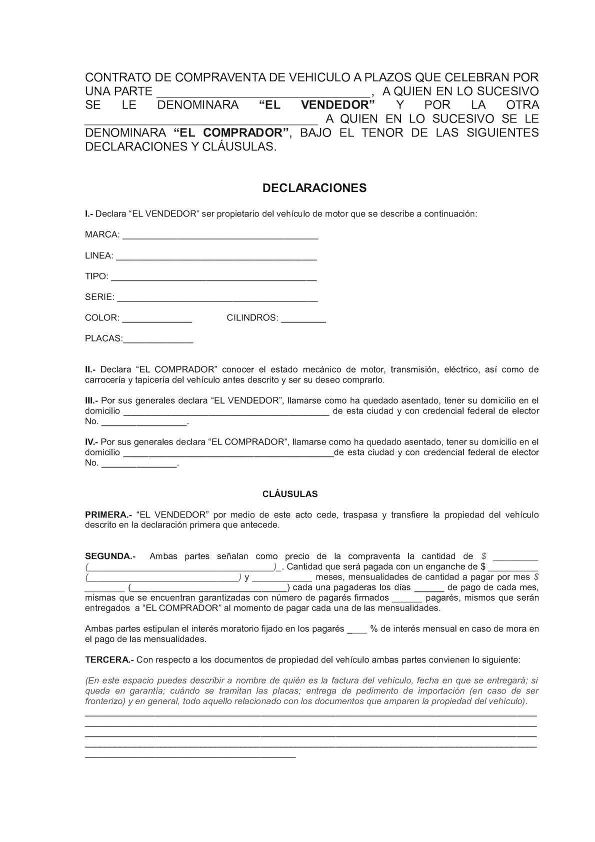 Calaméo Contrato De Compraventa De Vehiculo A Plazos1