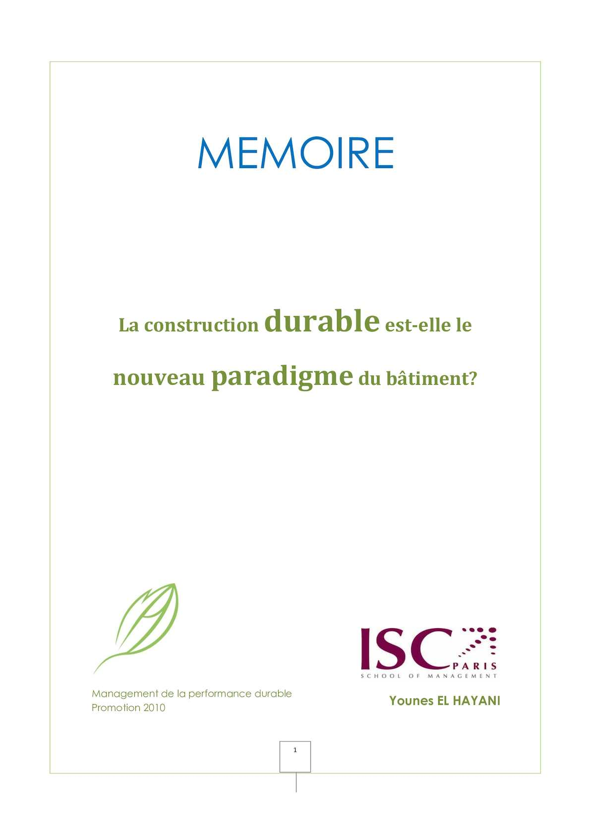 Mémoire - Construction Durable: Nouveau paradigme ? - Younes El Hayani