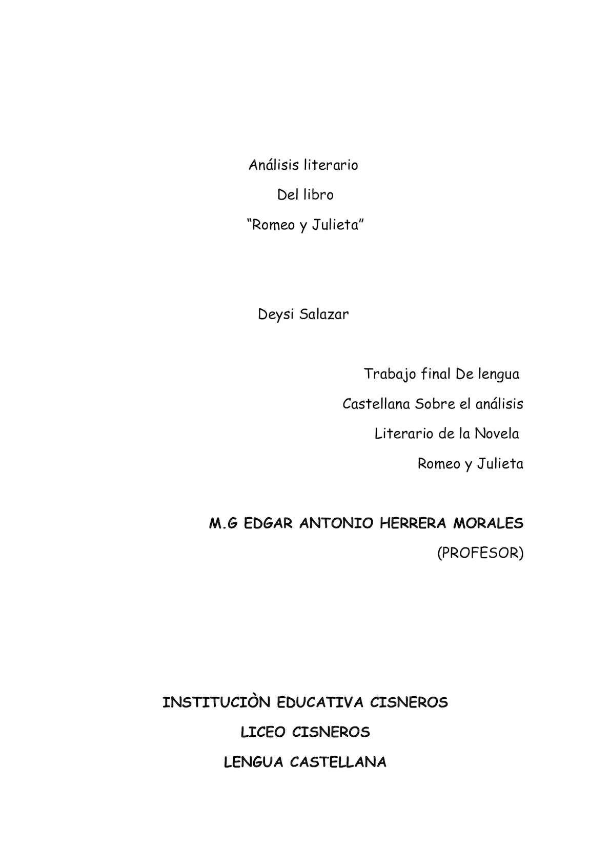 Calaméo Análisis Literario Romeo Y Julieta Deysi