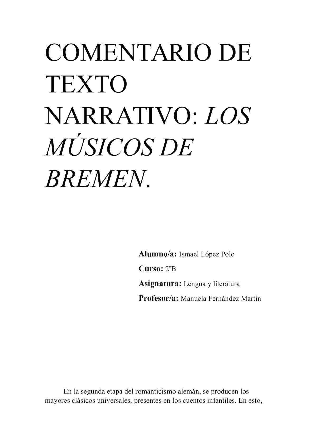 Calaméo Comentario De Texto Narrativo Los Músicos De Bremen