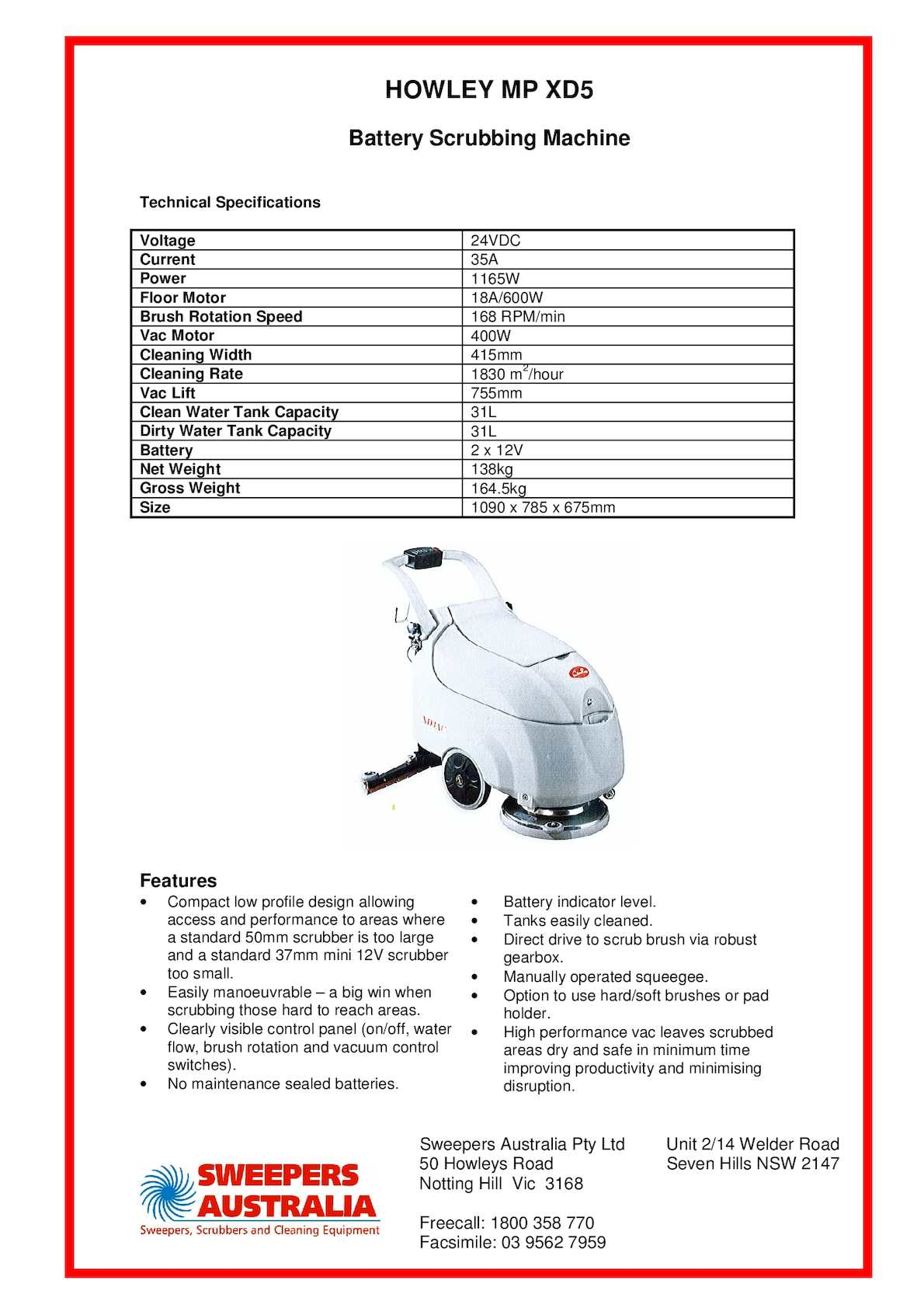 Calamo Howley Mpxd5 Walk Behind Floor Scrubber Sweepers Australia 12v Battery Indicator Level