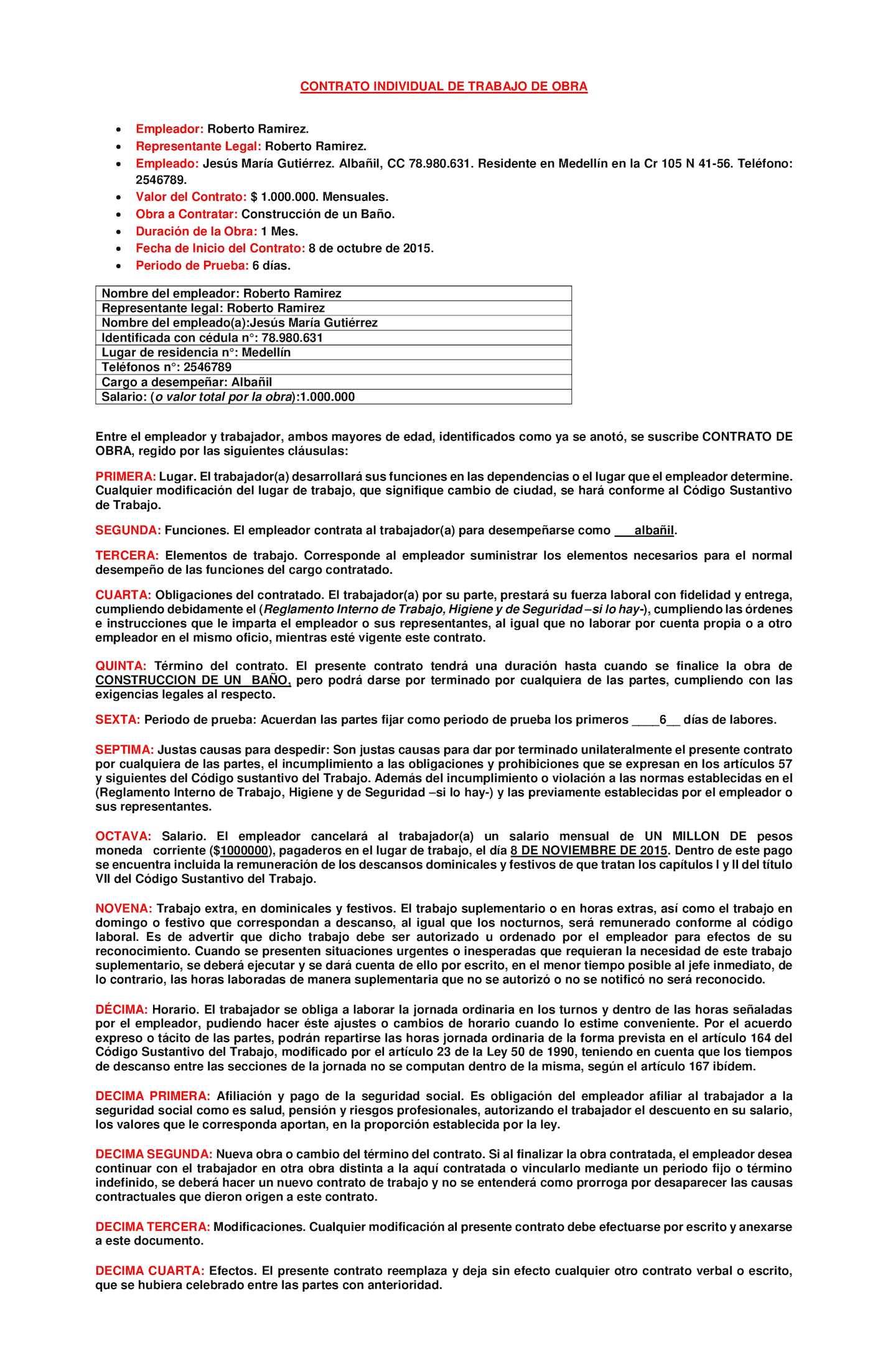 Calameo Contrato Individual De Trabajo De Obra Completo
