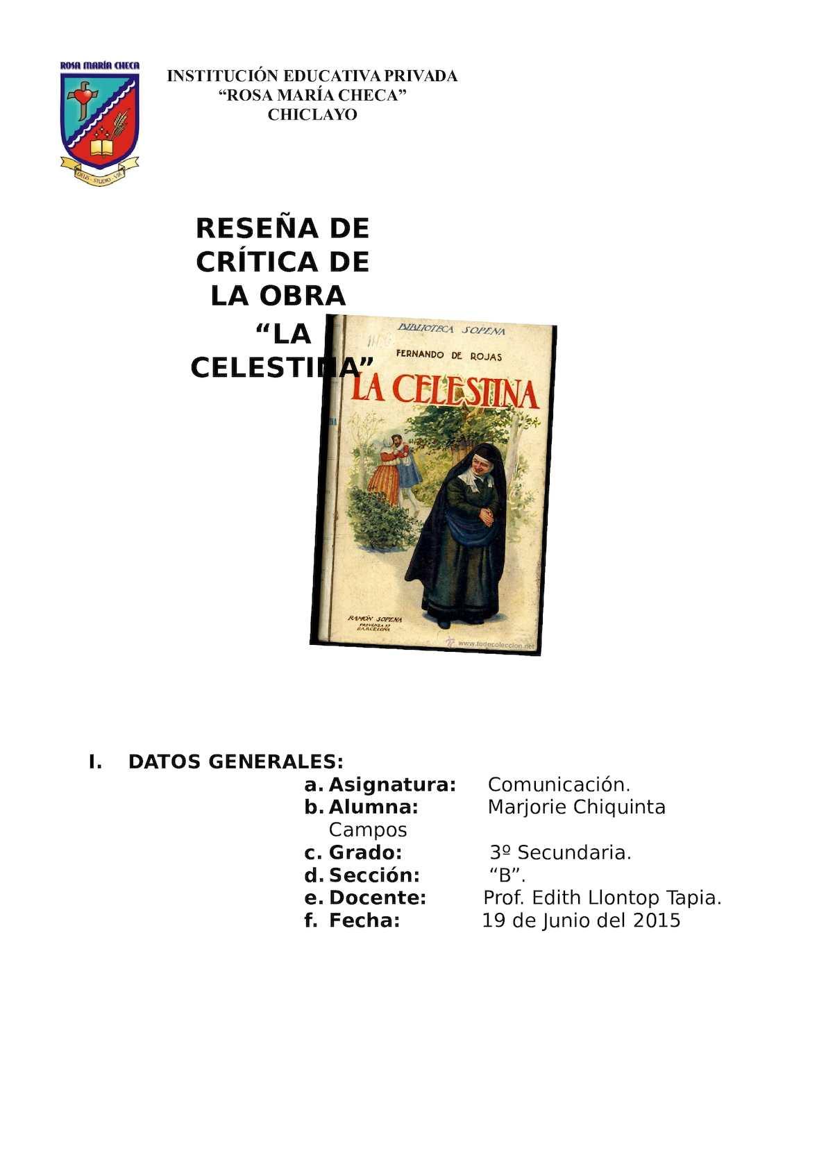Calaméo - Reseña Critica De La Celestina
