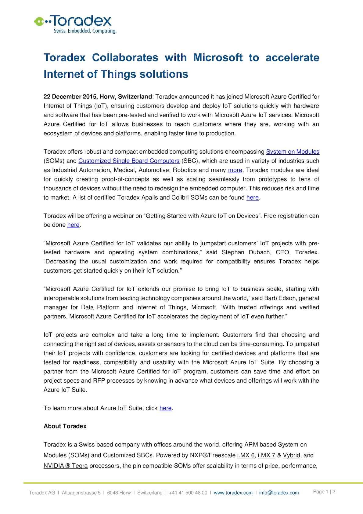 Calaméo - Toradex Collaborates with Microsoft to Accelerate Internet
