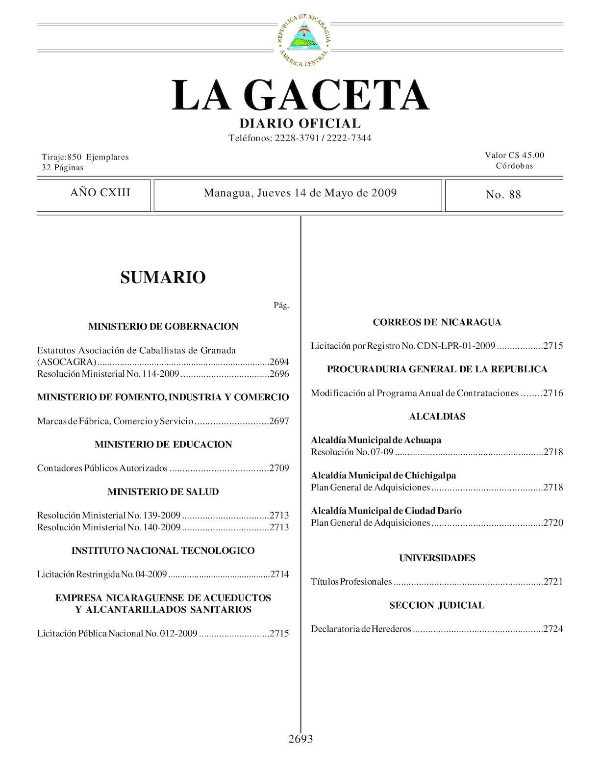 Calaméo Gaceta 88 Jueves 14 De Mayo 2009