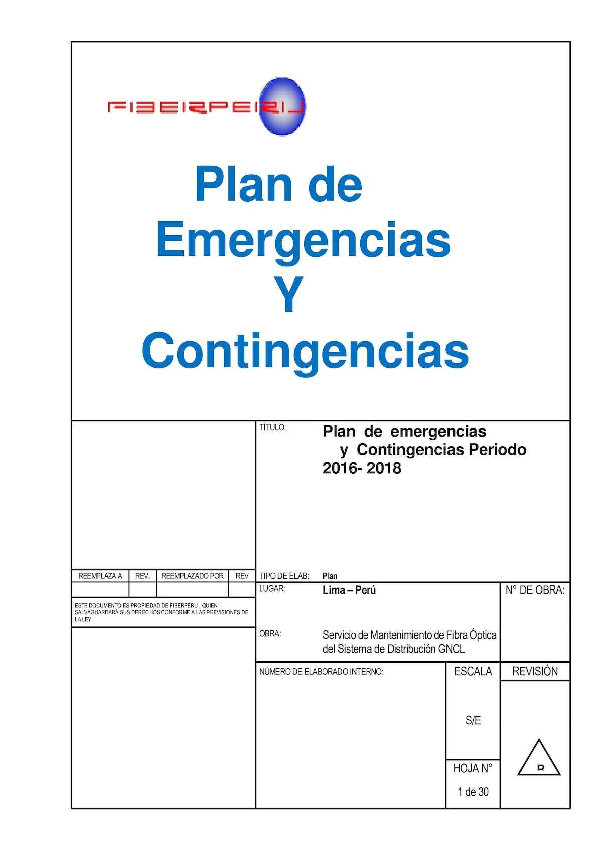 9 1 Plan De Contigencia O Emergencia Fiberperu