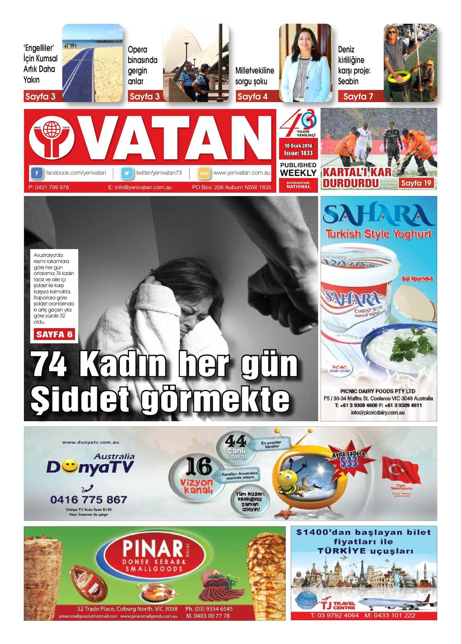 Calameo Yeni Vatan Turkish Newspaper Issue No 1833