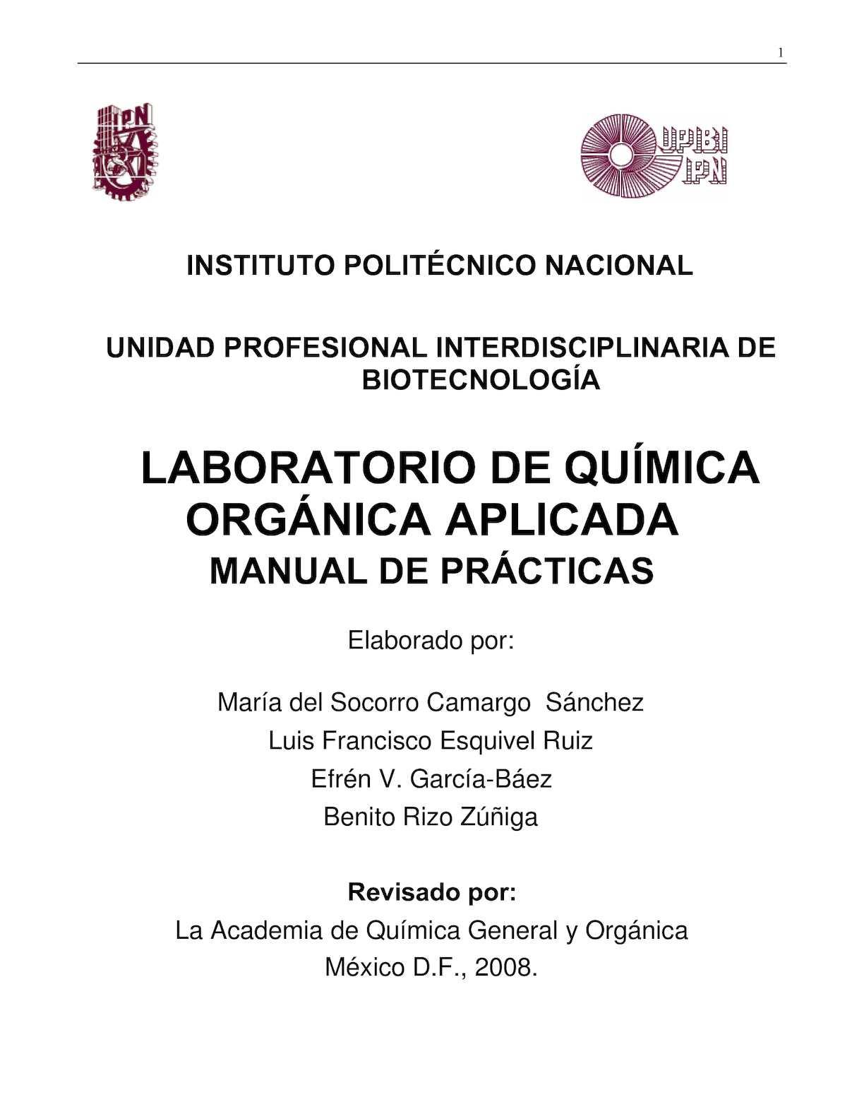 Calaméo Manual De Lab Quimica Orgánica Aplicada Corregidoipn