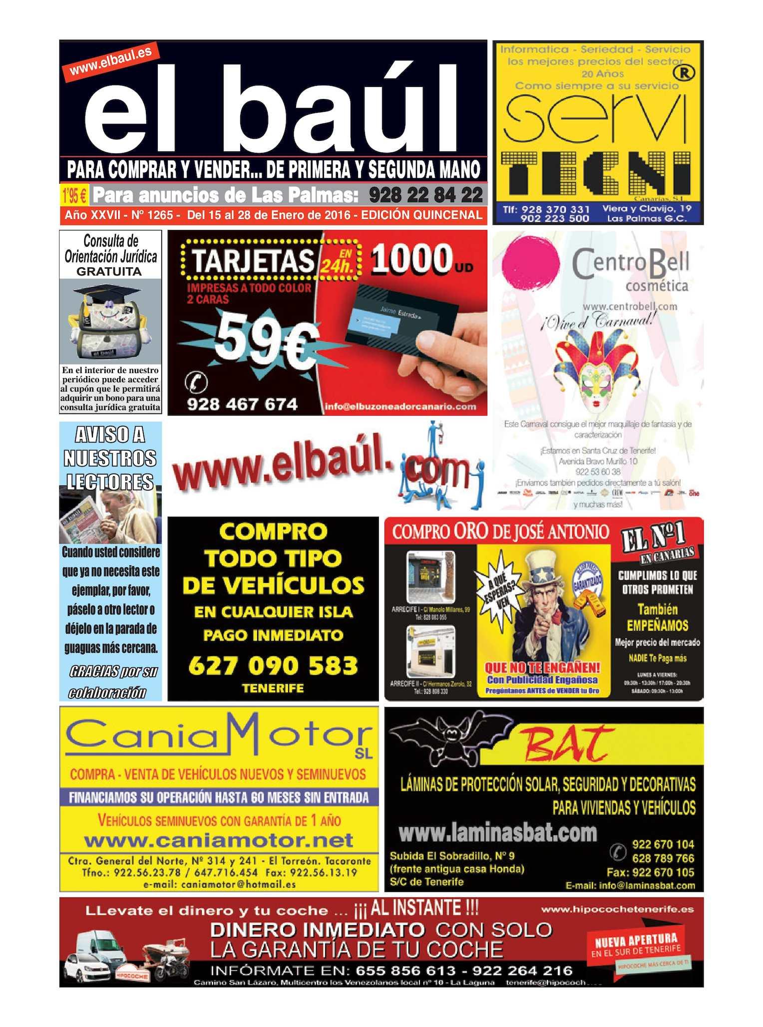 Calaméo - 15 al 28 de Enero 2016 Periódico El Baúl segunda mano edición Las  Palmas db7a870c3ff