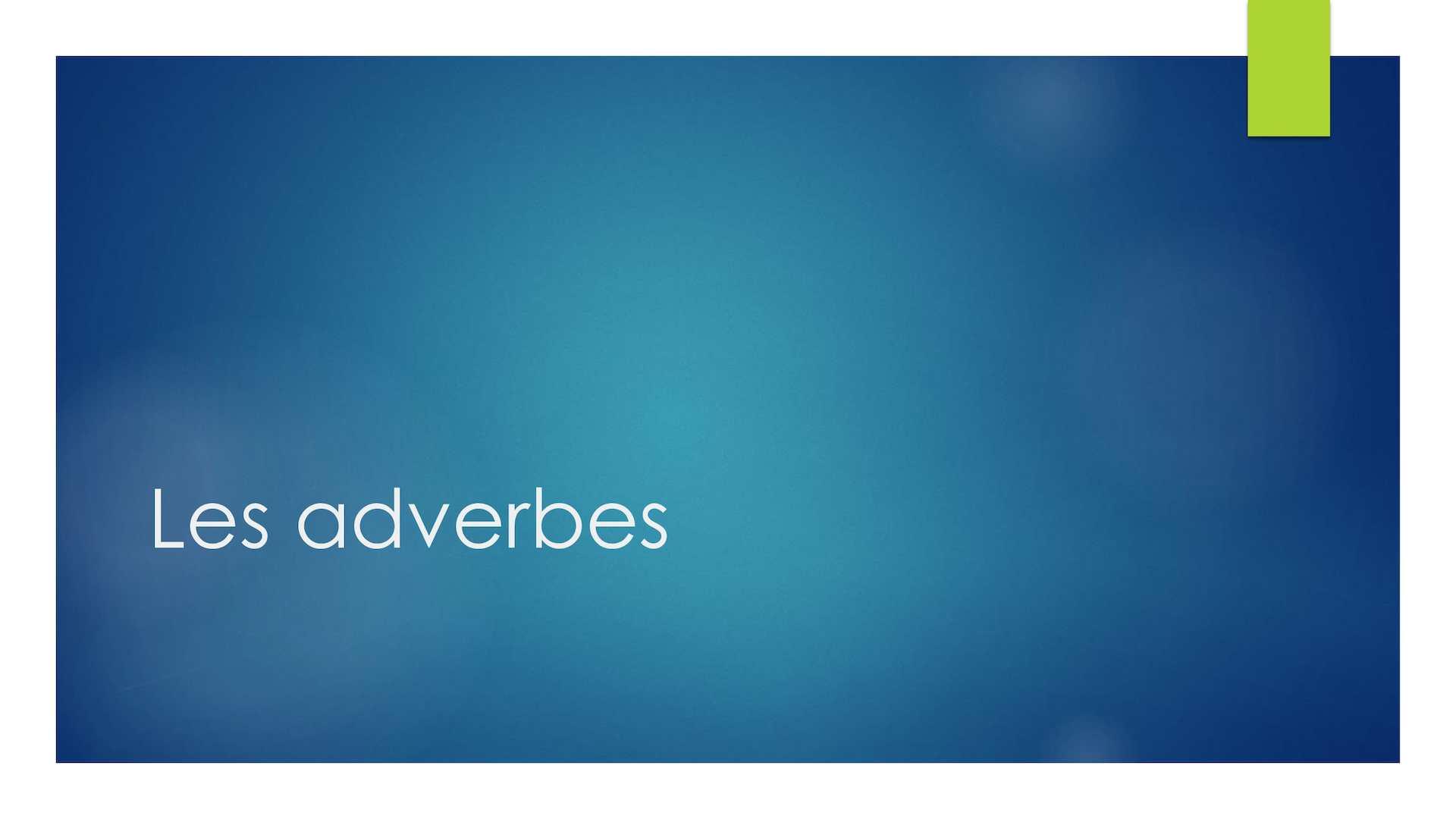 Calameo Les Adverbes En Anglais