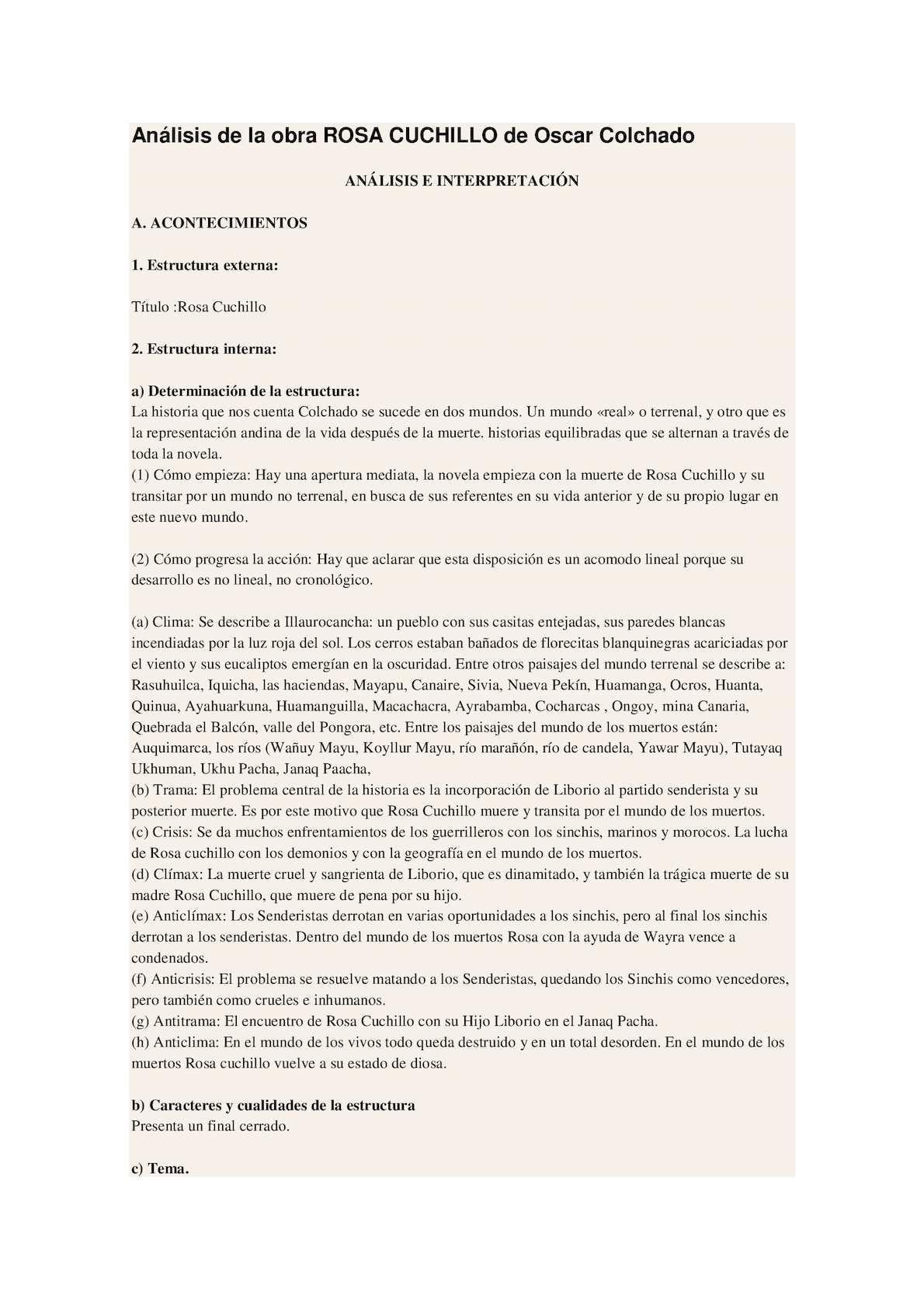 Calaméo Análisis De La Obra Rosa Cuchillo De Oscar Colchado