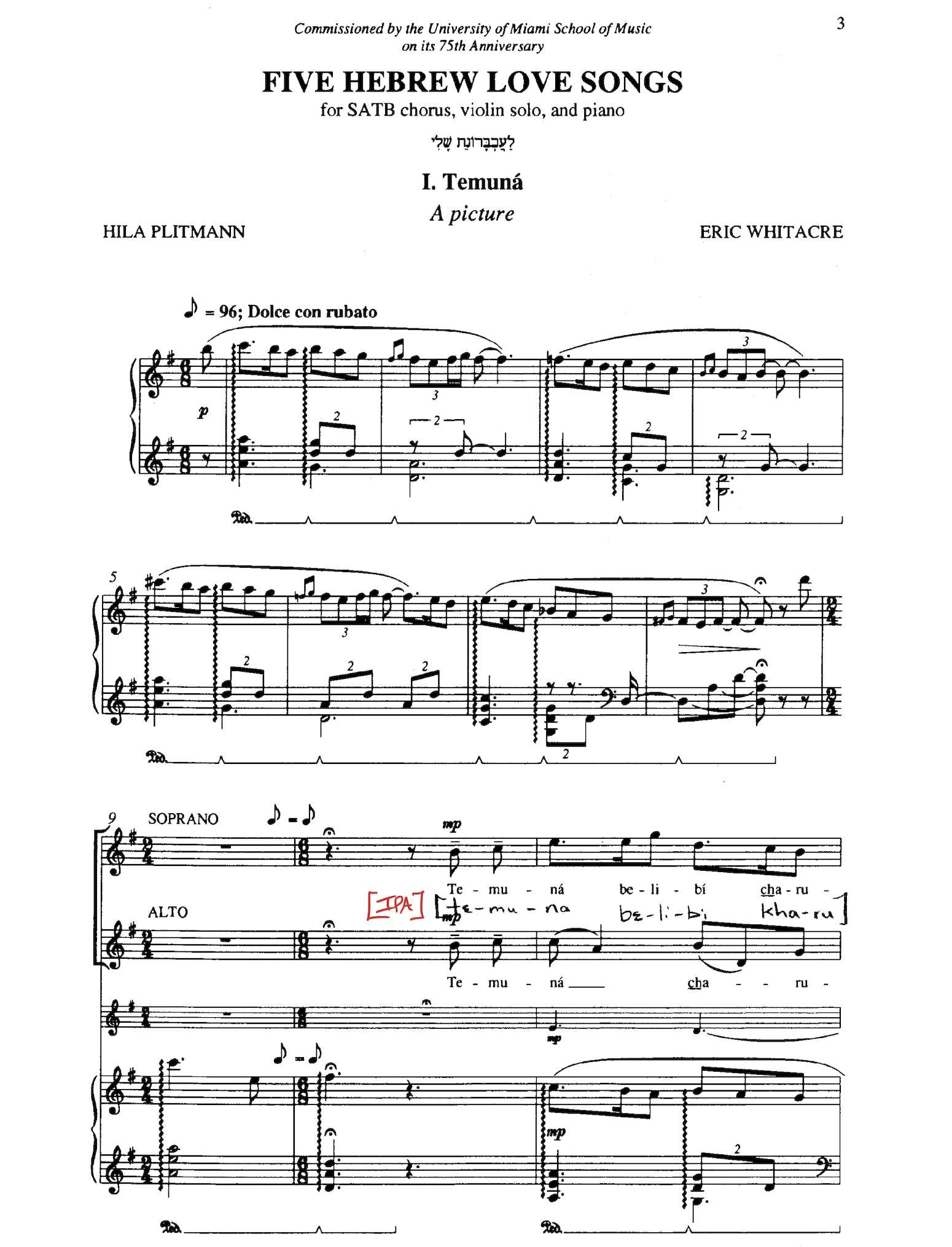 Calaméo - Five Hebrew Love Songs SATB (Whitacre)