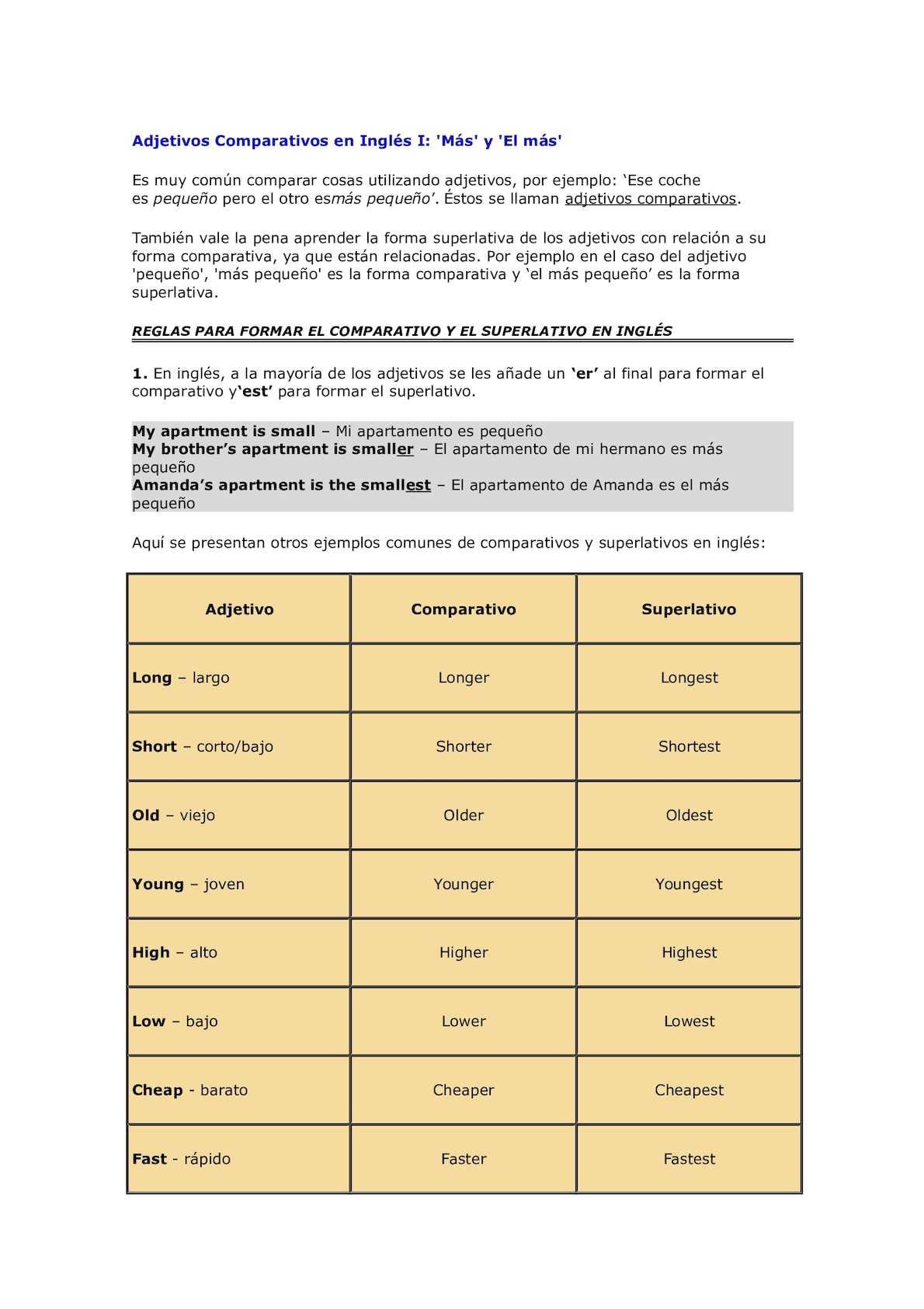 Calaméo Adjetivos Comparativos En Inglés I