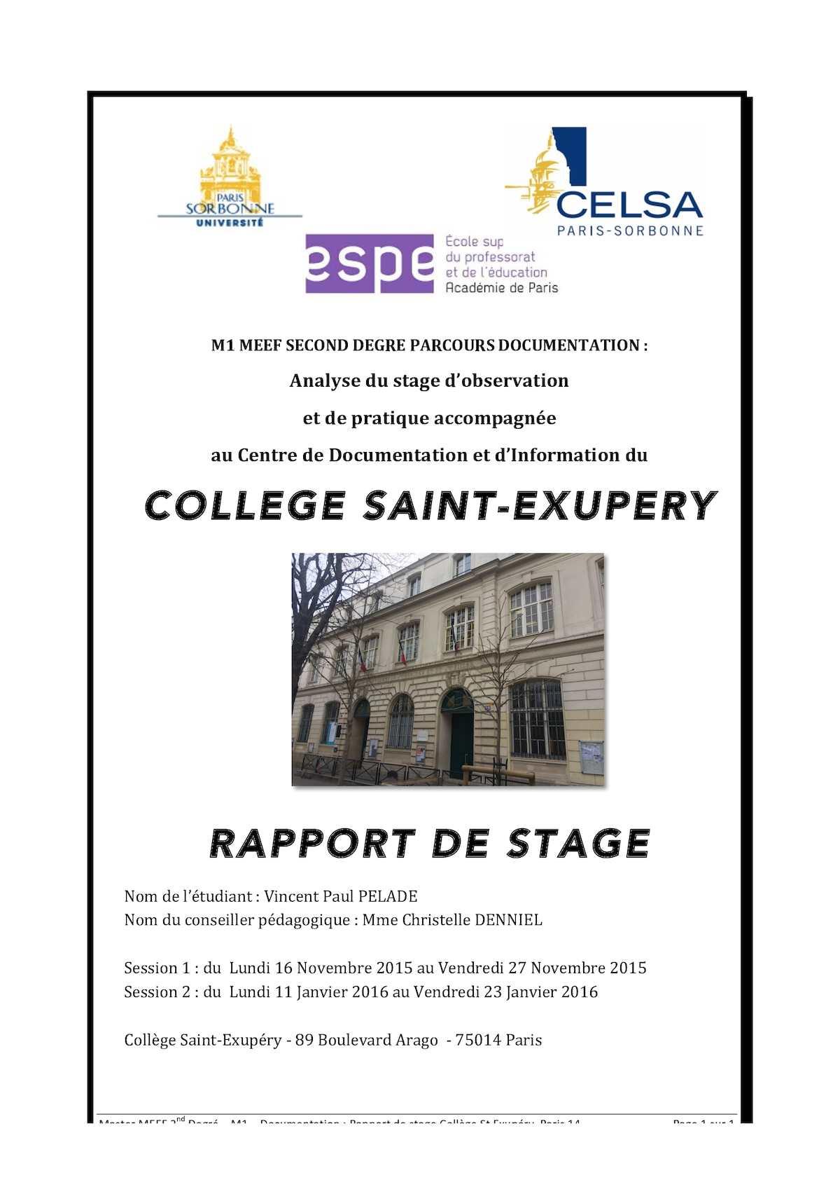 rapport de stage master 1 meef spcialit 1er degrsemestre 1