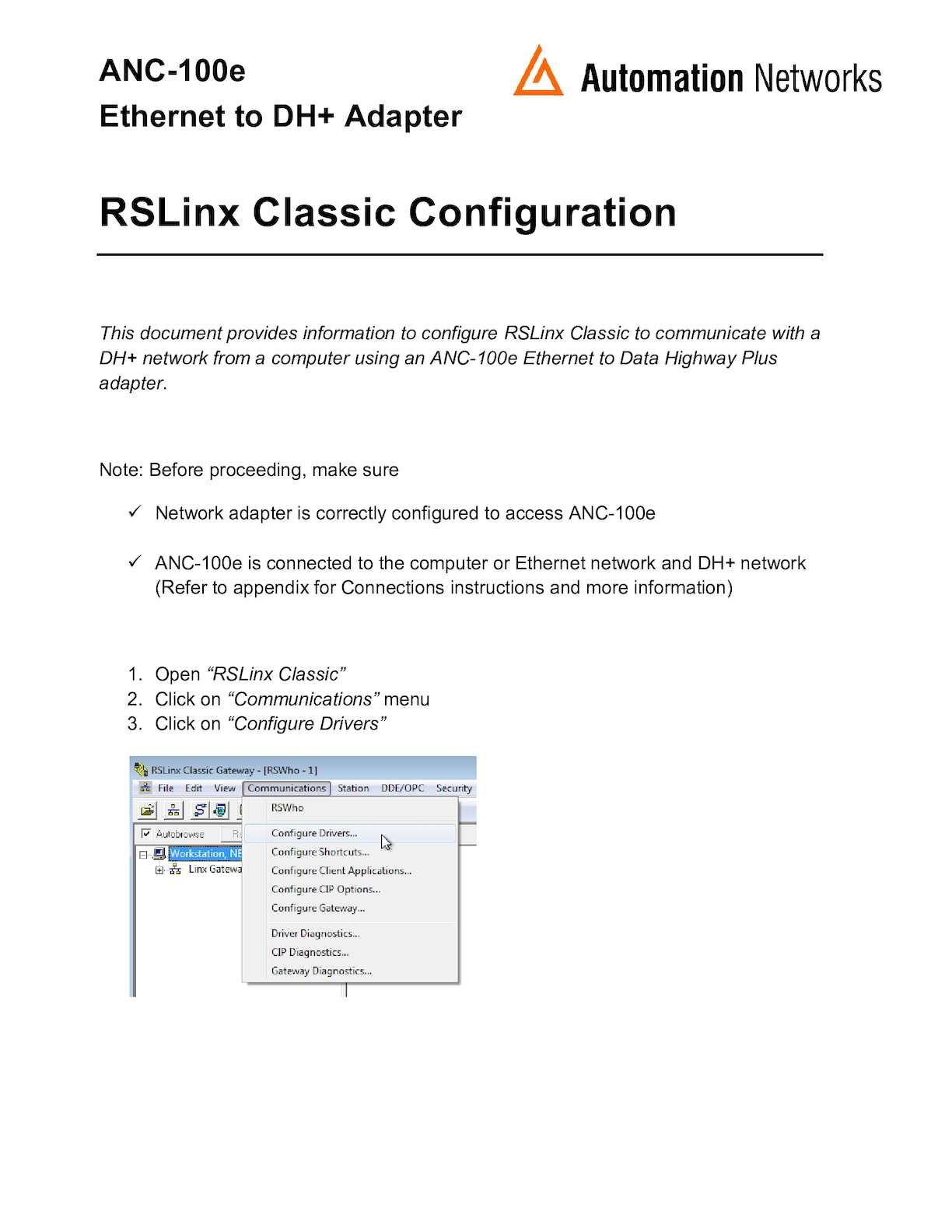 Calaméo - Anc 100e Rslinx Ethernet Ip To Dh+ Classic