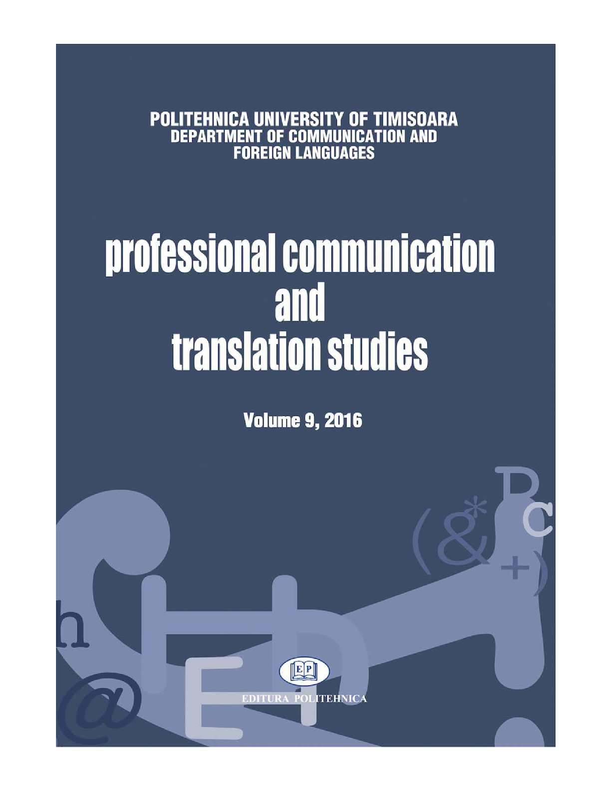 Calameo Professional Communication And Translation Studies 9 2016