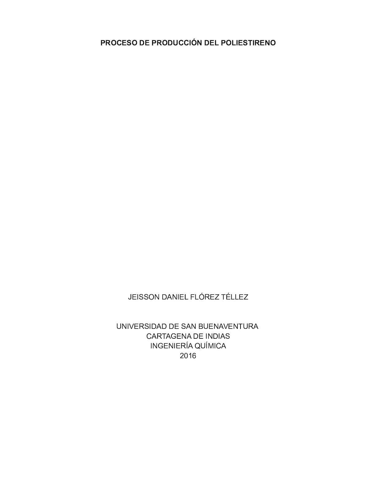 Proceso De Producción Del Poliestireno