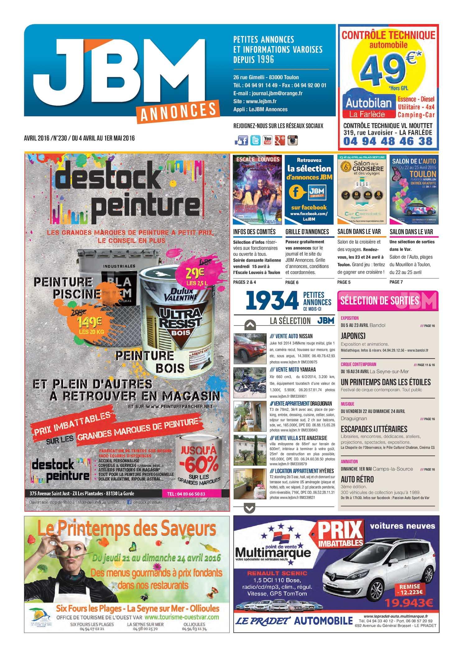 Calaméo - Journal JBM Annonces n°230 Avril 2016 8437e500b50