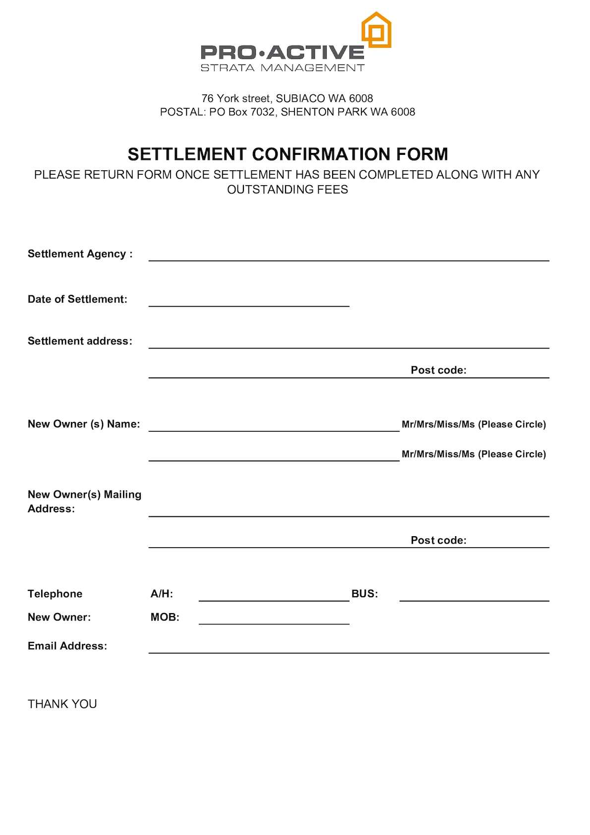 Calaméo - Settlement Confirmation Form