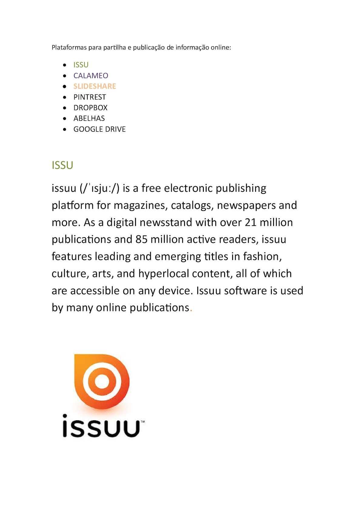 Calaméo - Plataformas Para Partilha E Publicação De Informação Online