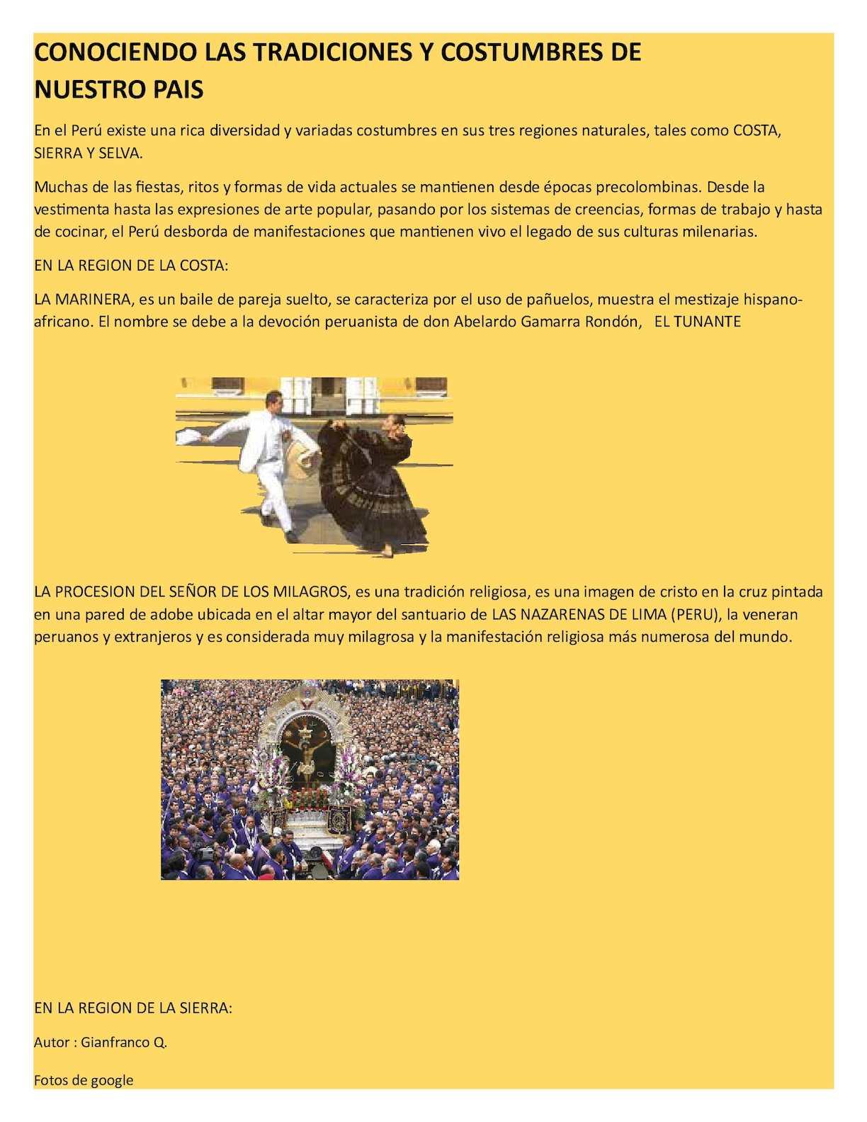 Calaméo Conociendo Las Tradiciones Y Costumbres Del Peru