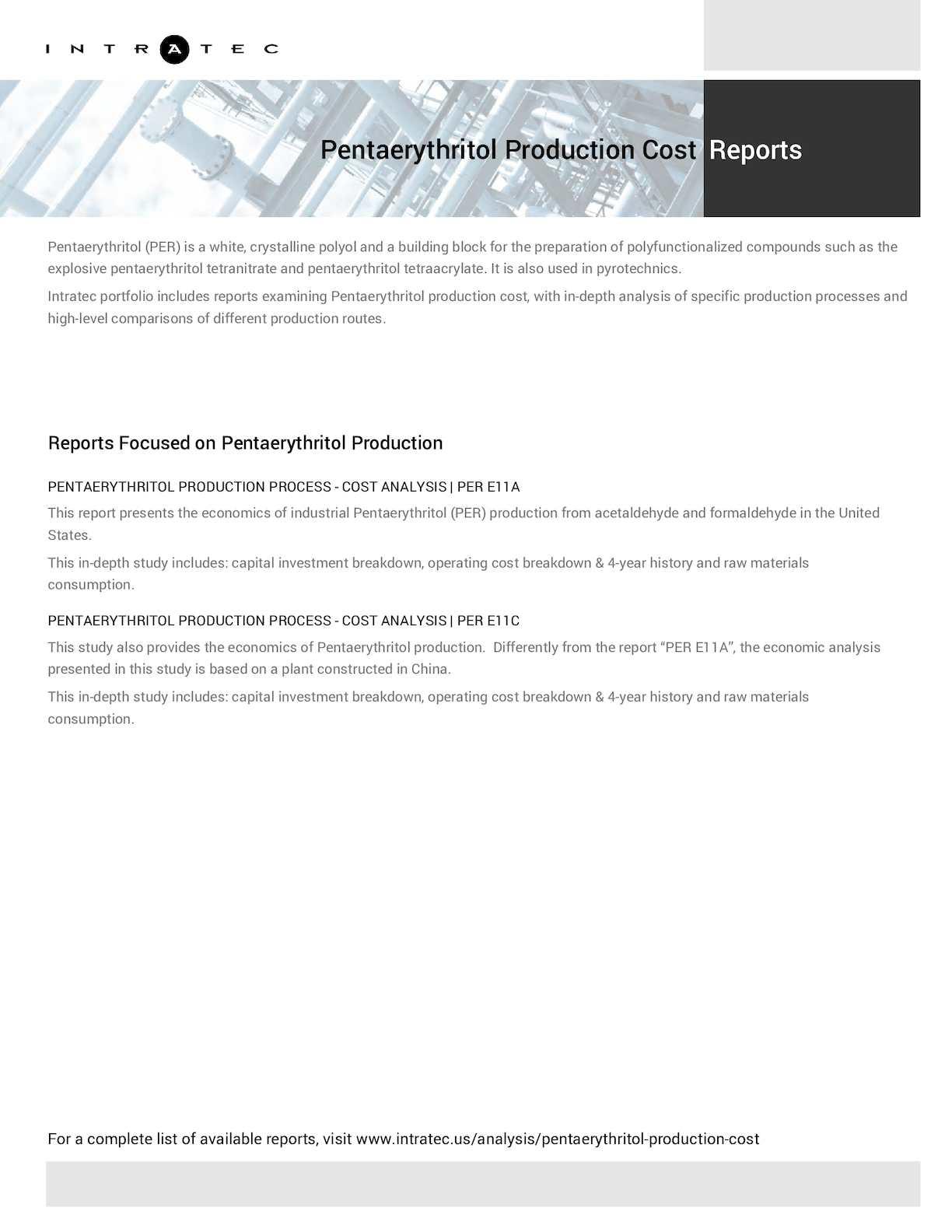 Calaméo - Techno-Economic Assessment about Pentaerythritol